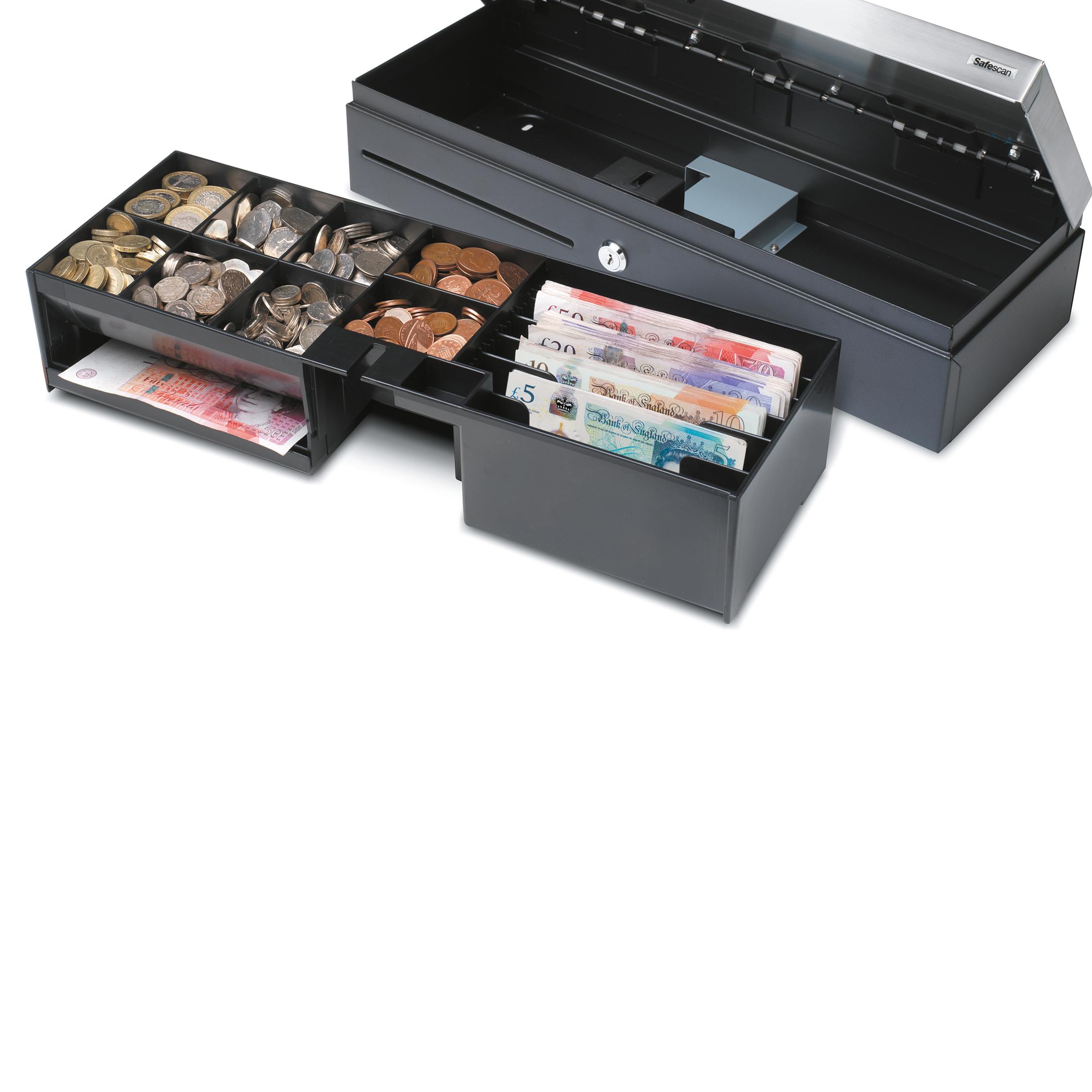 Safescan SD-4617S Cash Drawer Flip Top Standard Use 4.3kg L460xW170xH100m Black/Silver Ref 132-0498