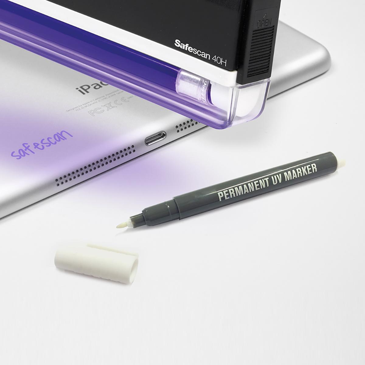 Safescan UV Security Marker Pen Permanent Ultra Violet Ink Colourless Odourless Black Ref 111-0455