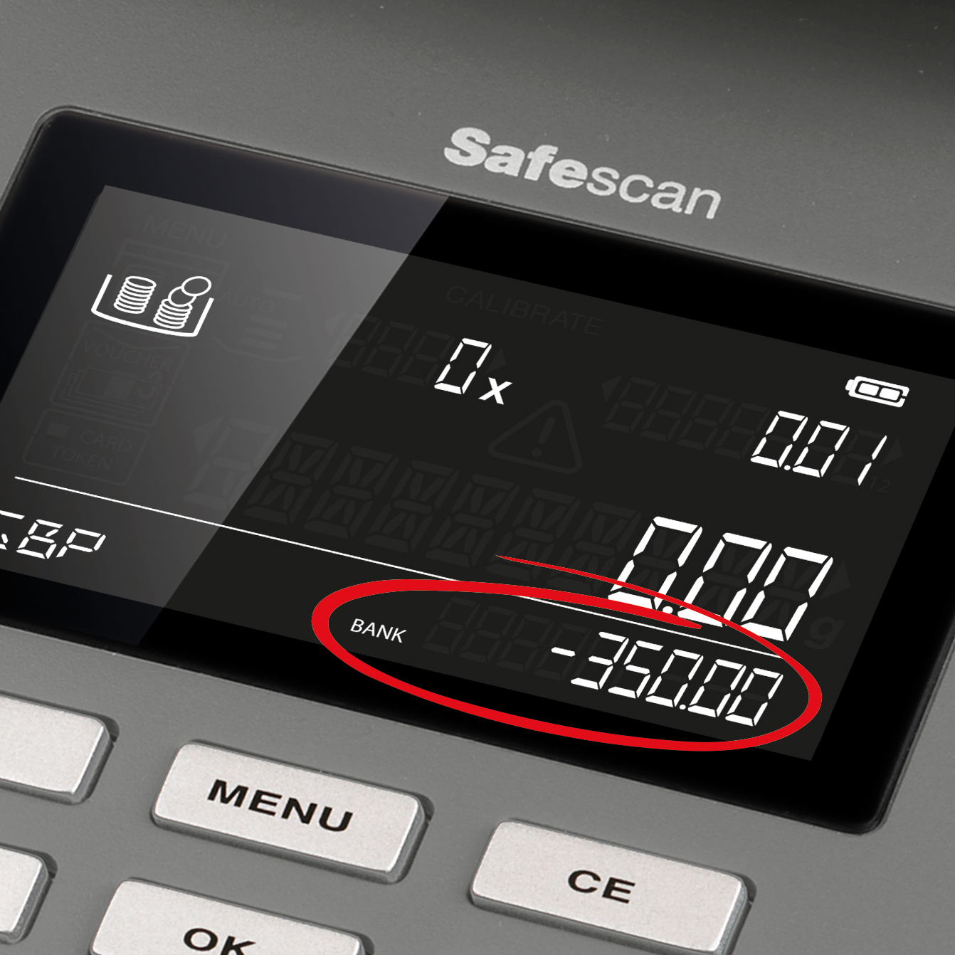 Safescan 6165 Money Counting Scale 0.66kg L223xW142xH147mm Black/Grey Ref 131-0573