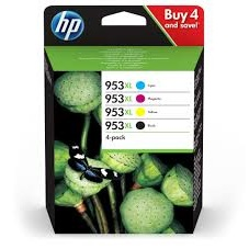 Hewlett Packard 953XL Inkjet Cartridge High Yield Page Life2000/1600pp 103ml B/C/M/Y Ref 3HZ52AE [Pack 4]