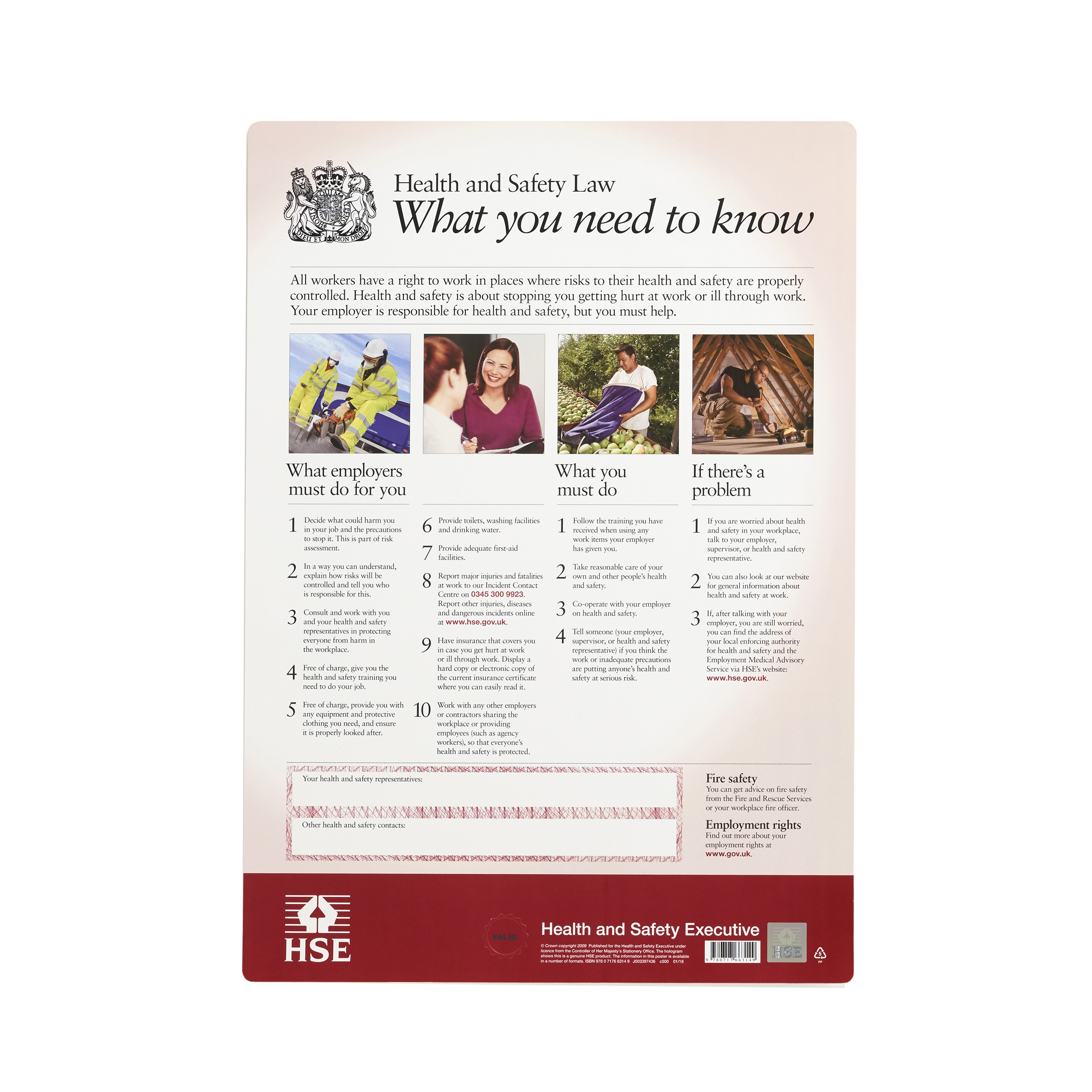 Informational signs Health and Safety Law Poster PVC W297xH420mm A3