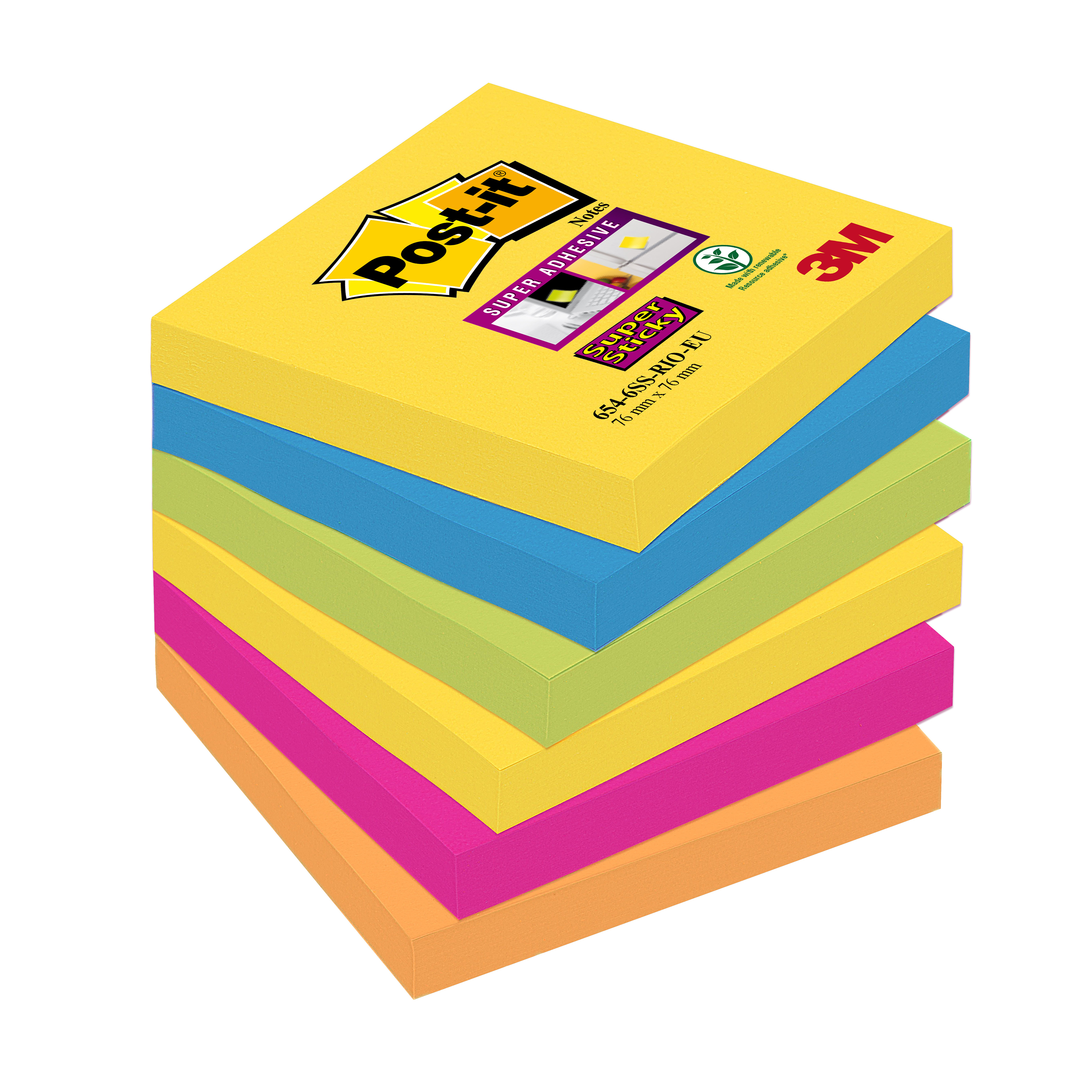 Self adhesive note paper Post-it Super Sticky Removable Notes Pad 90 Sheets 76x76mm Rio Ref 654-6SS-RIO Pack 6
