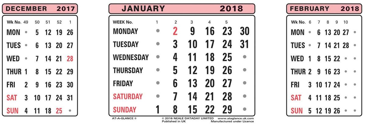 Image for At A Glance 2018 Refill Dates Ref 3SR 2018