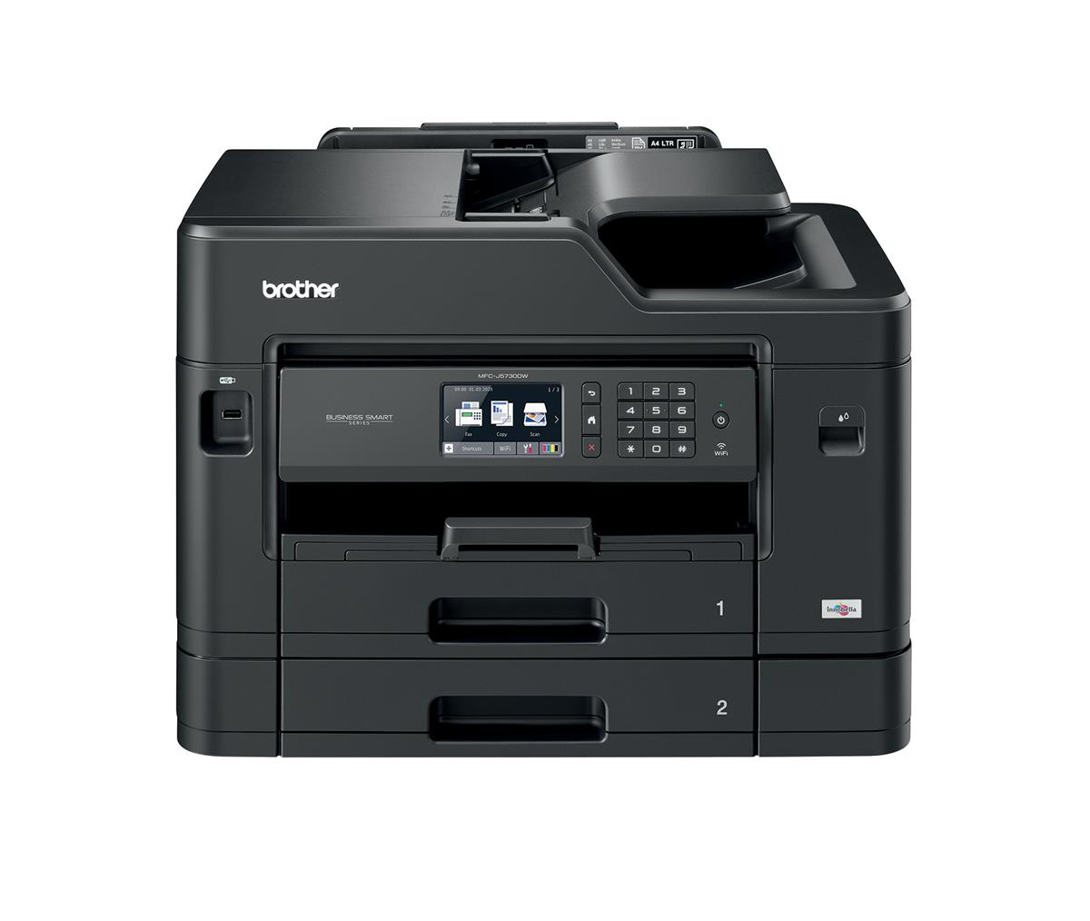 Image for Brother Colour Inkjet Multifunction Printer Wired and Wireless 20ipm A3 Black Ref MFCJ5730DWZU1
