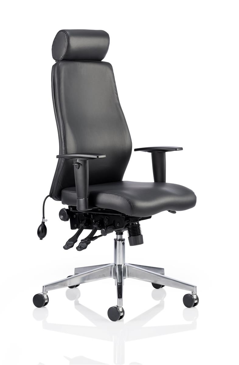 Image for Adroit Posture Chair Height-adjustable Arms Flat Packed Bonded Leather Black