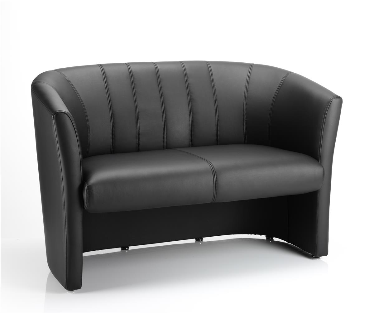 Image for Trexus Reception Chair Static Arms Pre-assembled Bonded Leather Black