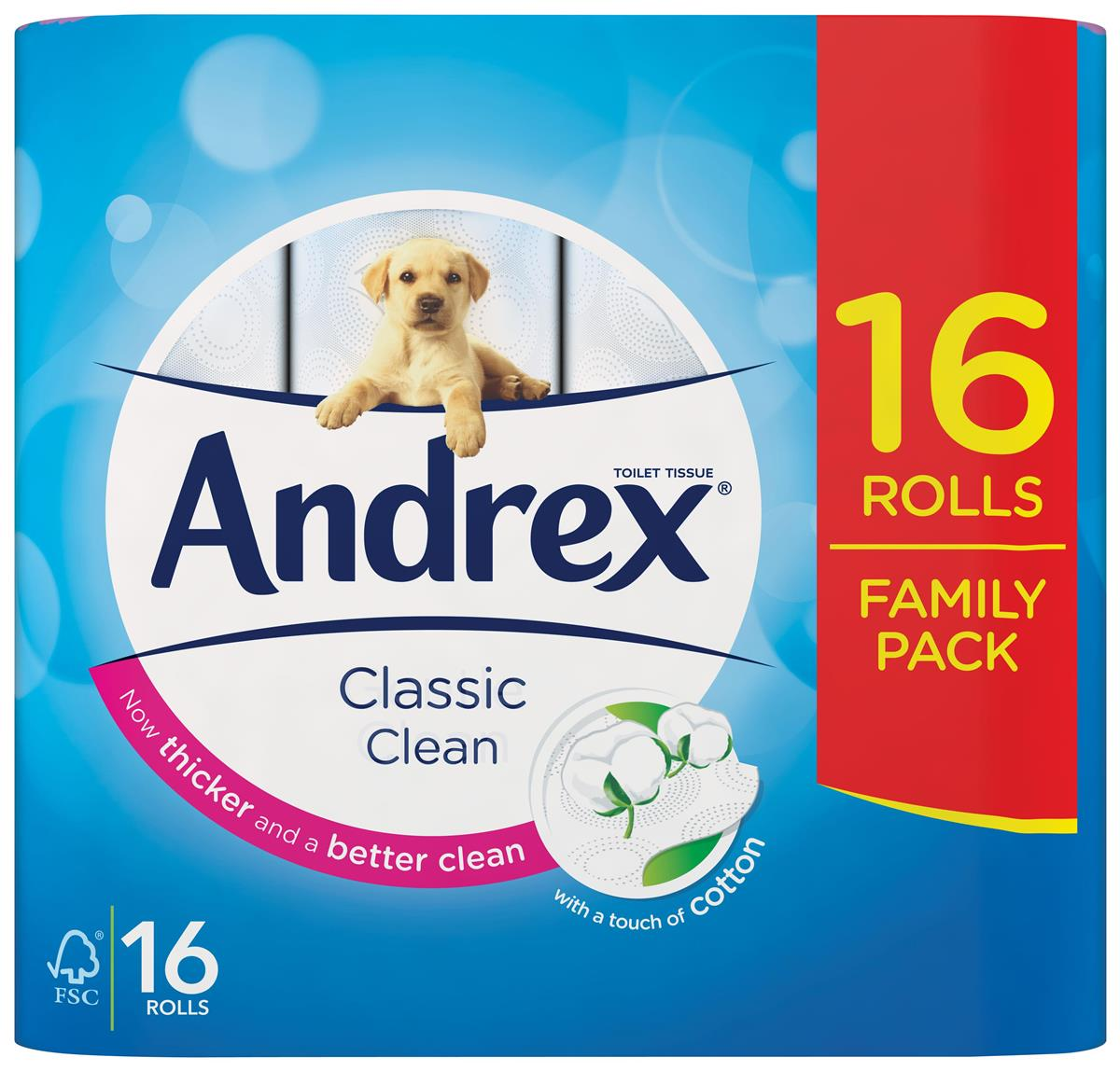Image for Andrex Classic Toilet Roll 2-ply White Ref 1102122 [Pack 16]