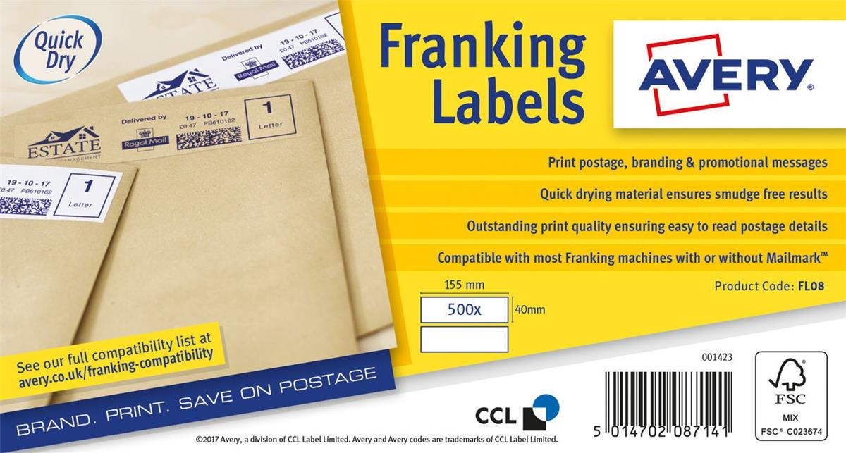 Image for Avery FL08 Franking Labels QuickDry 500 Labels 155x40mm White [Pack 2]
