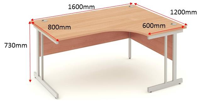Trexus Corner Desk Right Hand Cantilever Leg 1600/1200mm Beech