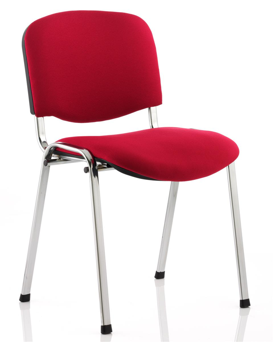 Trexus Stacking Chair Stackable Pre-assembled Fabric Wine Red with Chrome Metal Frame Ref BR000299