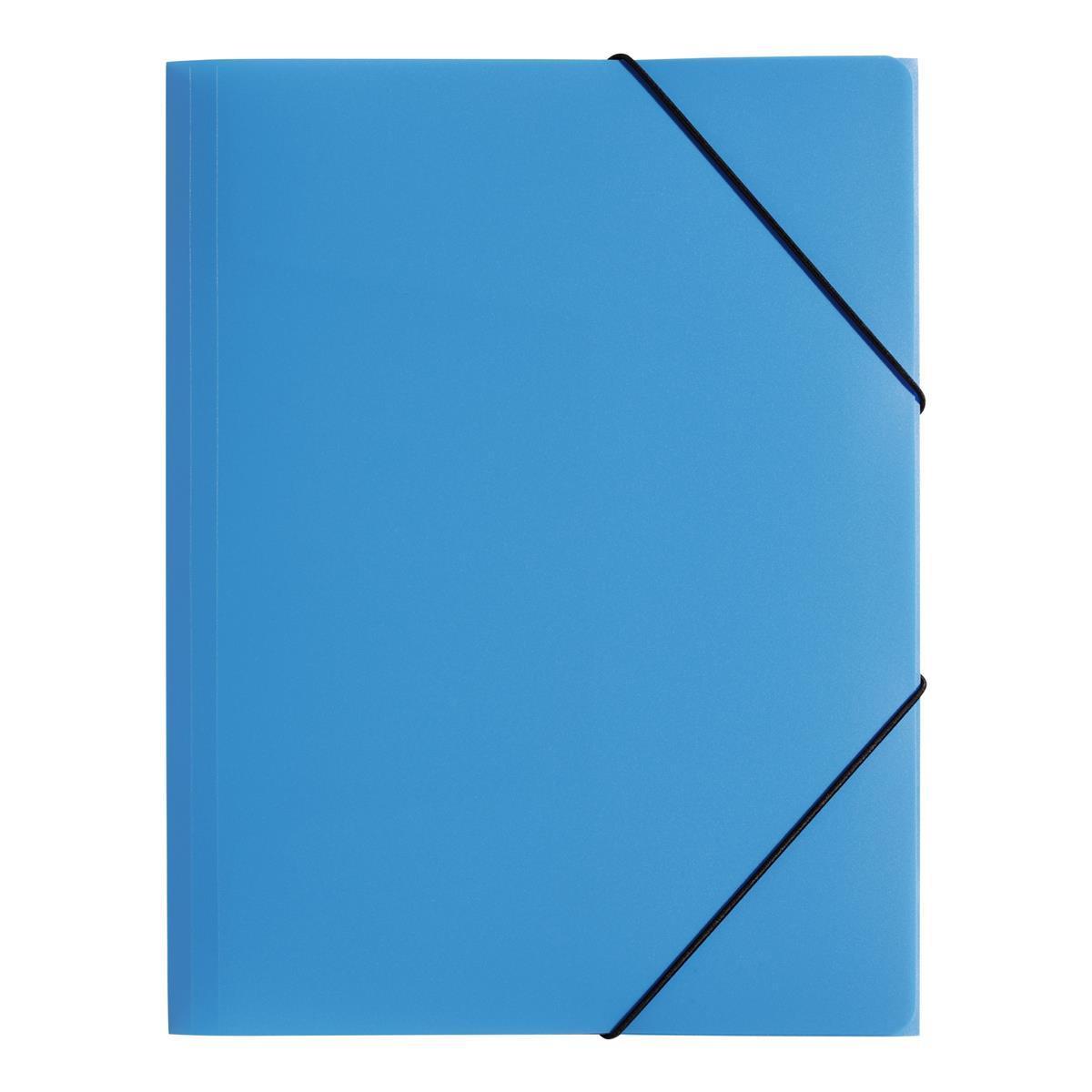Pagna PP Folder Elasticated Straps Three Internal Flaps A4 Light Blue Ref 2161313 [Pack 10]