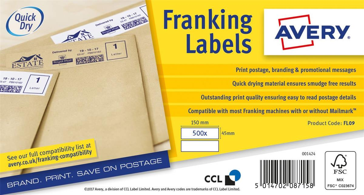 Image for Avery FL09 Franking Labels QuickDry 500 Labels 155x45mm White [Pack 2]