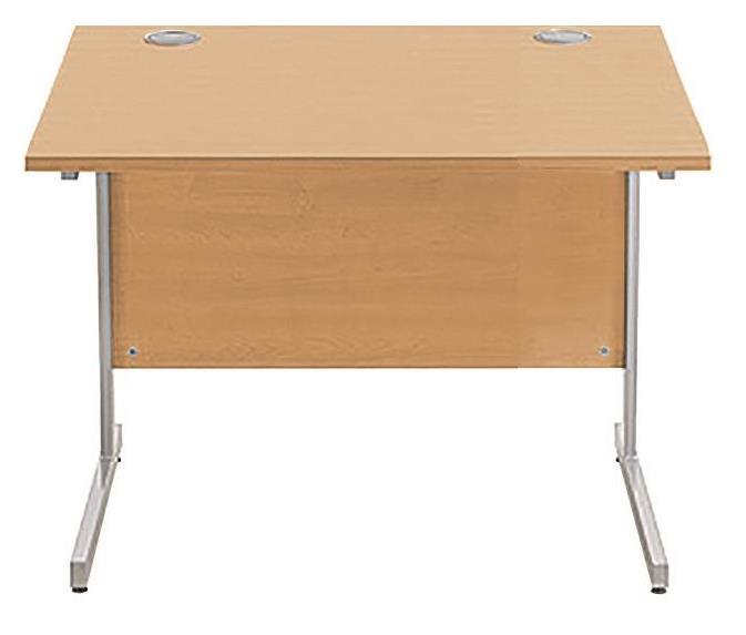 Image for Sonix Cantilever Desk Rectangular Silver Cantilever Leg 800mm Rich Beech