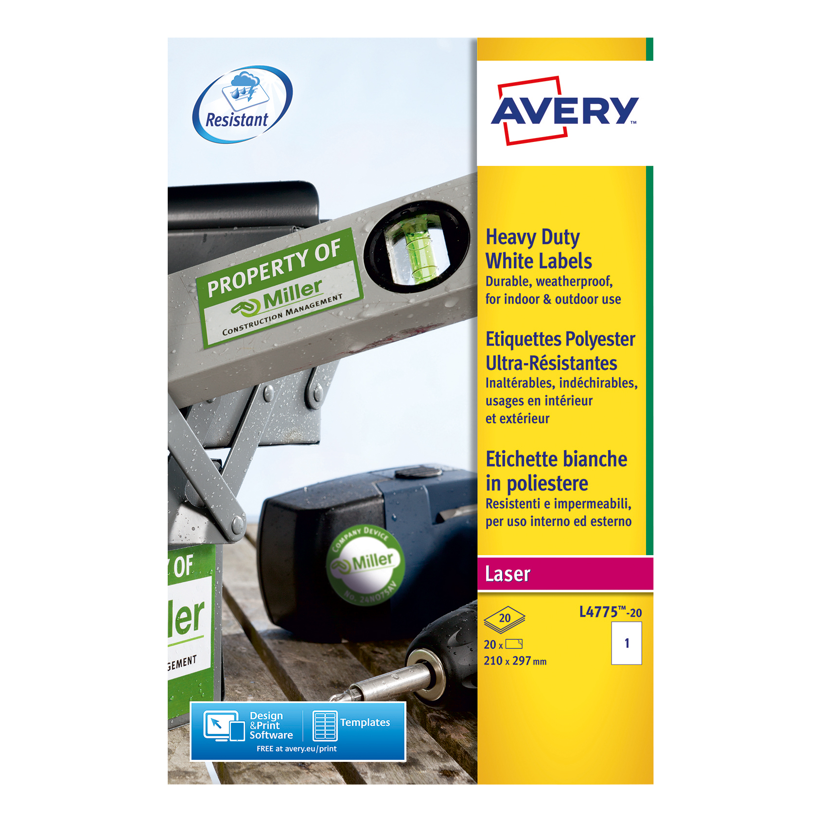 Avery Heavy Duty Labels Laser 1 per Sheet 210x297mm White Ref L4775-20 20 Labels