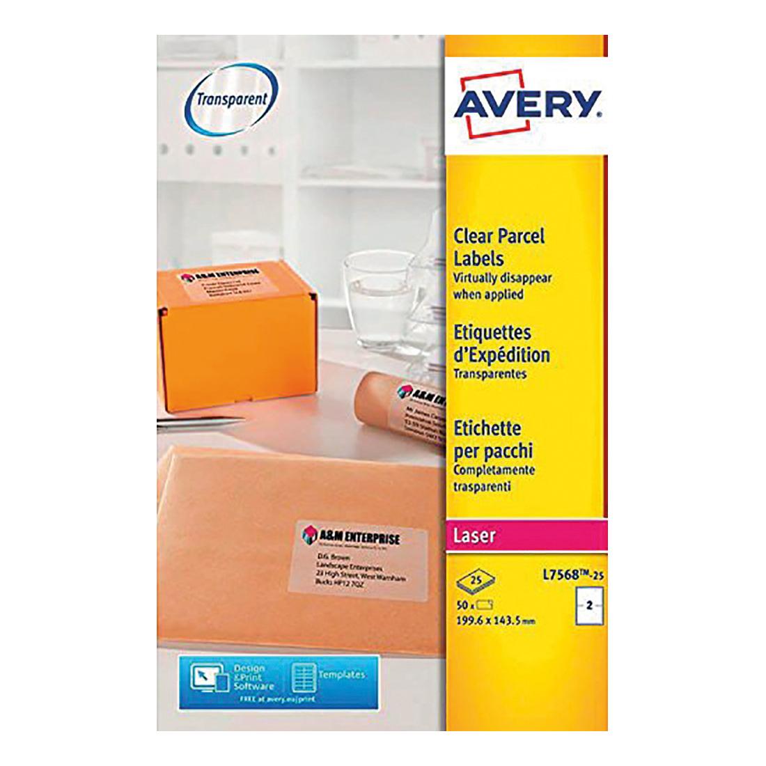 Avery Parcel Labels Laser 2 per Sheet 199.6x143.5mm Transparent Ref L7568-25 [50 Labels]