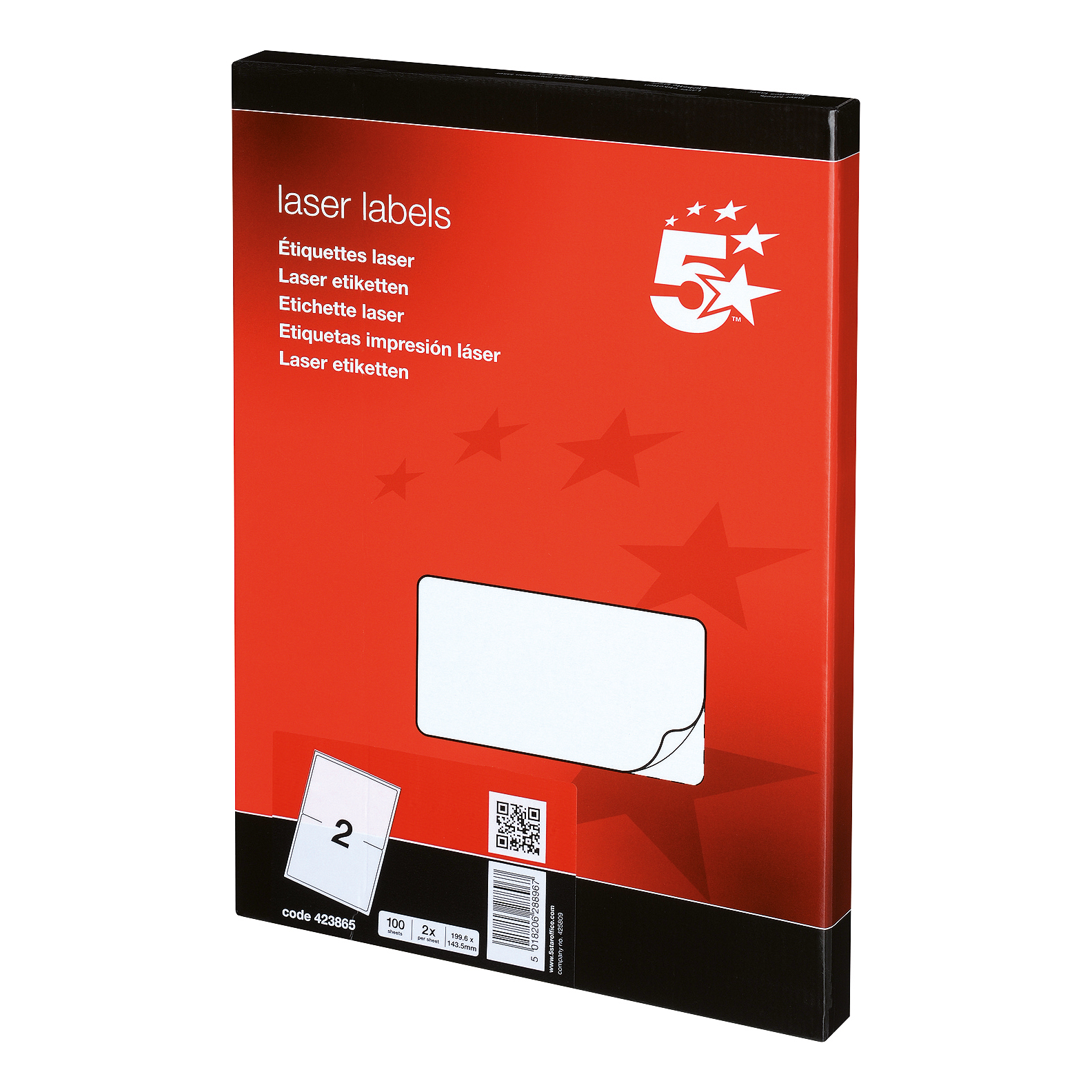 Address 5 Star Office Multipurpose Labels Laser Copier and Inkjet 2 per Sheet 199.6x143.5mm White 200 Labels