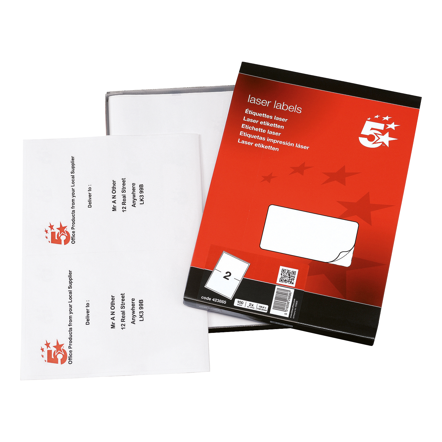 5 Star Office Multipurpose Labels Laser Copier and Inkjet 2 per Sheet 199.6x143.5mm White 200 Labels