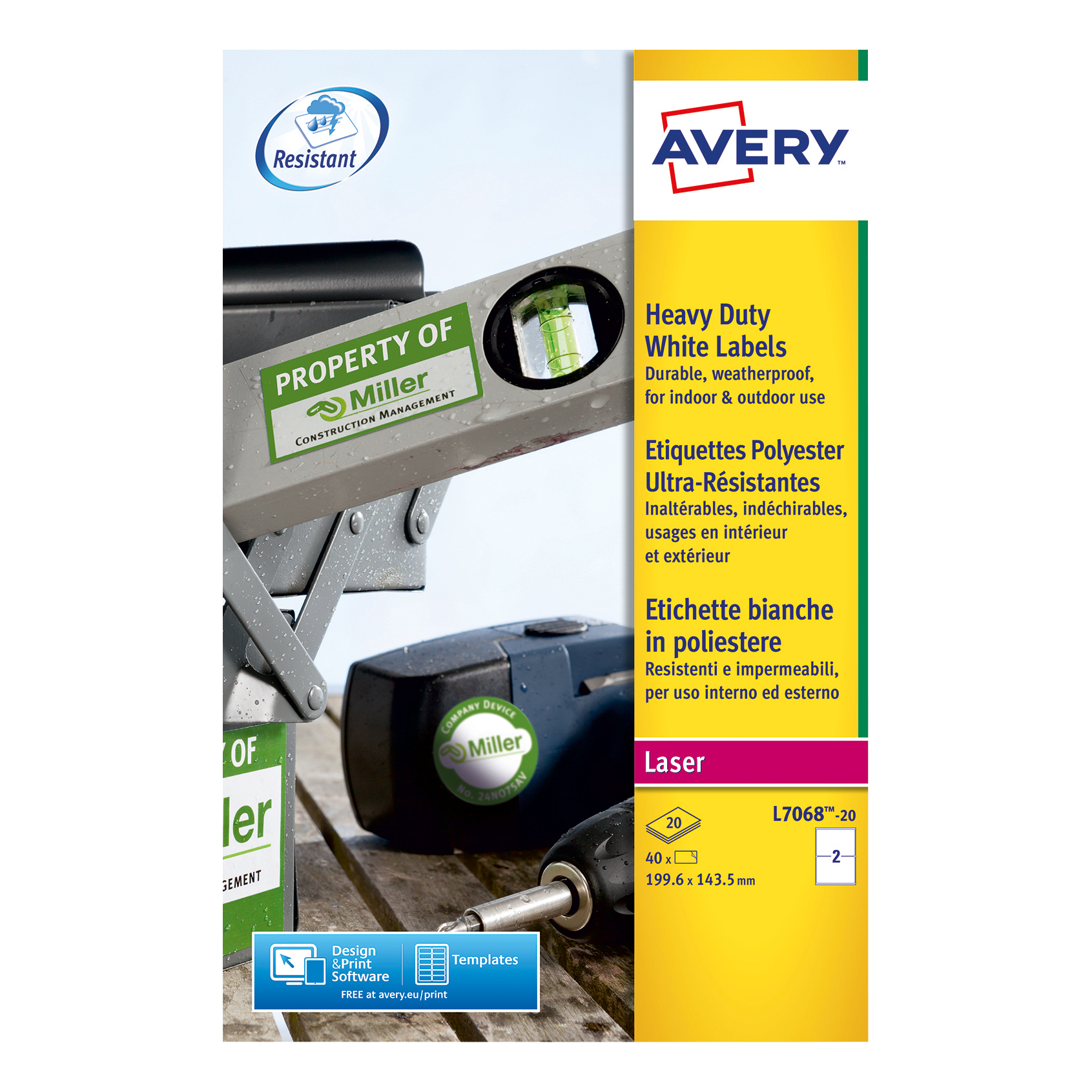 Avery Heavy Duty Labels Laser 2 per Sheet 199.6x143.5mm White Ref L7068-20 40 Labels