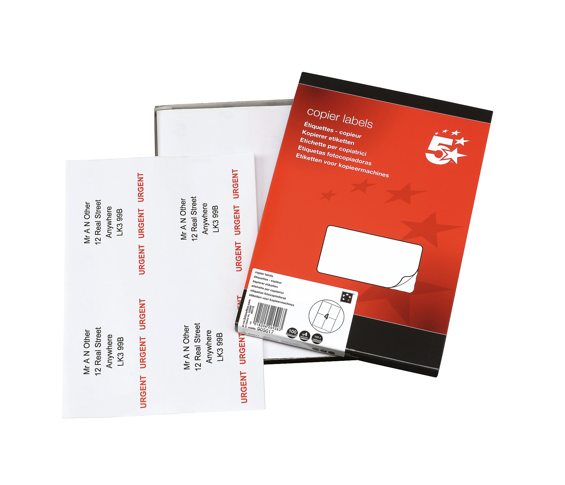 5 Star Office Multipurpose Labels Laser Copier and Inkjet 4 per Sheet 105x148.5mm White 400 Labels