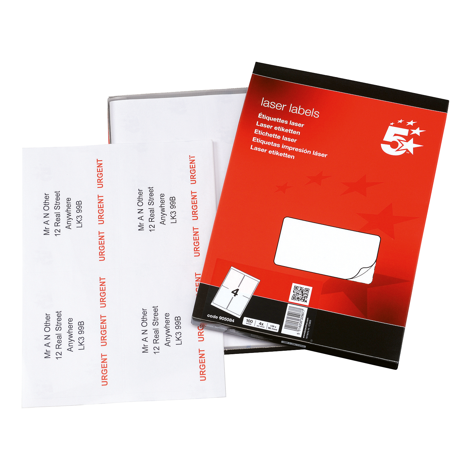 5 Star Office Multipurpose Labels Laser Copier and Inkjet 4 per Sheet 139x99.1mm White 400 Labels