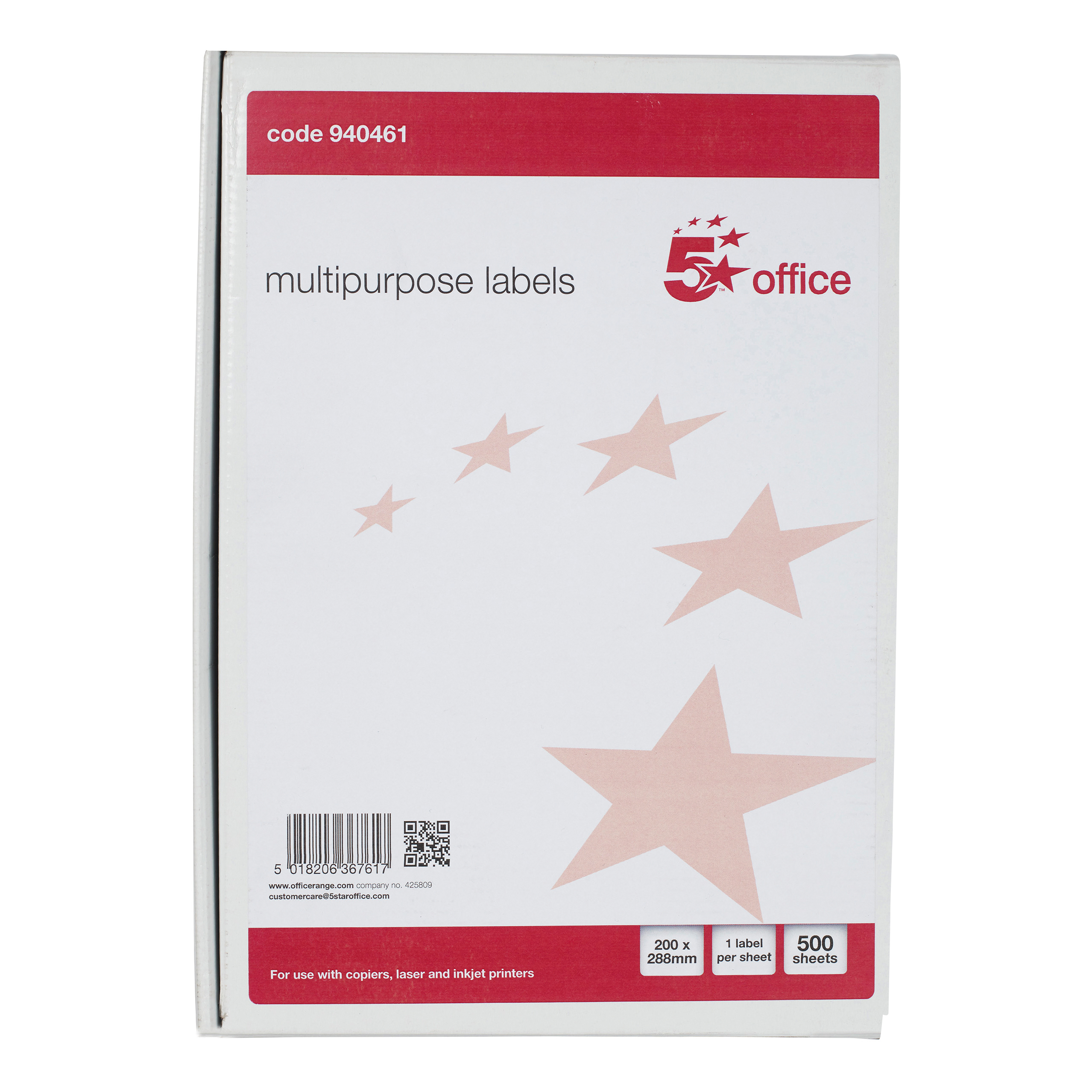 5 Star Office Multipurpose Labels Laser Copier and Inkjet 1 per Sheet 200x288mm White Pack 500