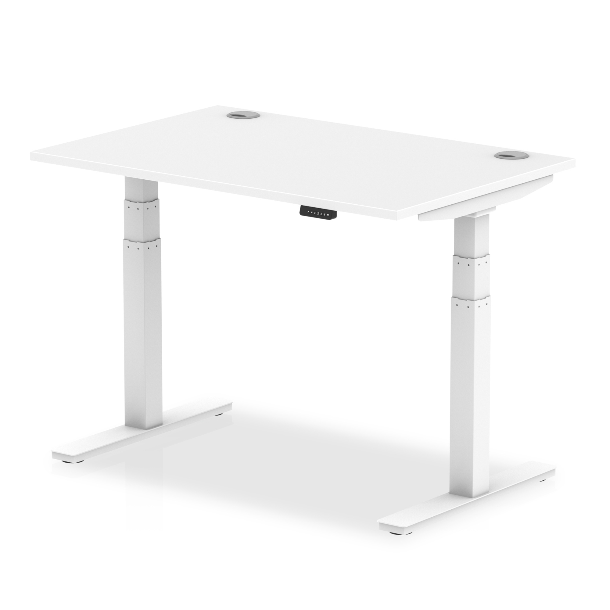 Trexus Sit Stand Desk With Cable Ports White Legs 1200x800mm White Ref HA01109