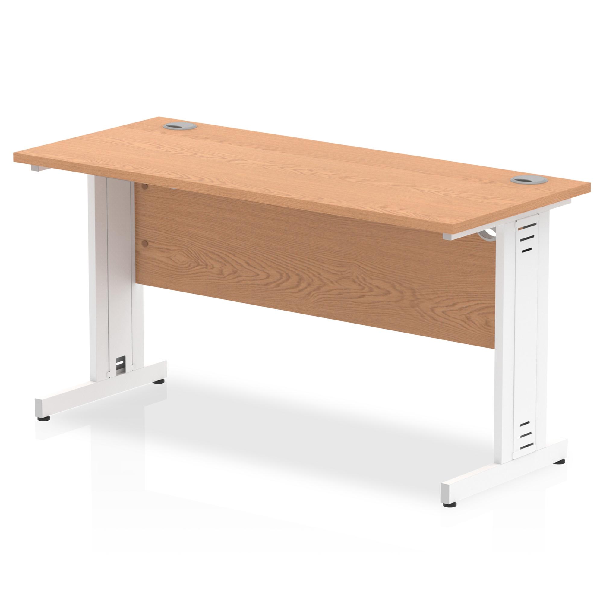 Trexus Desk Rectangle Cable Managed White Leg 1400x600mm Oak Ref MI002734