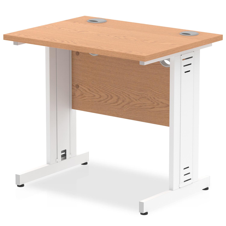 Trexus Desk Rectangle Cable Managed White Leg 800x600mm Oak Ref MI002908