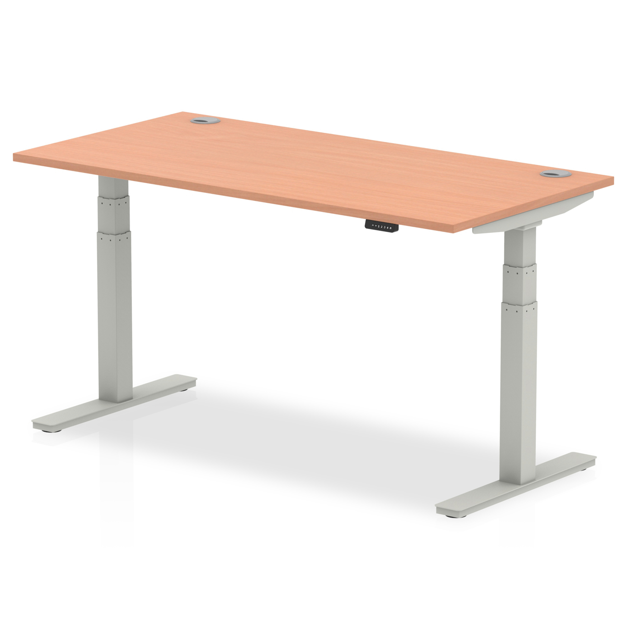 Trexus Sit Stand Desk With Cable Ports Silver Legs 1600x800mm Beech Ref HA01083