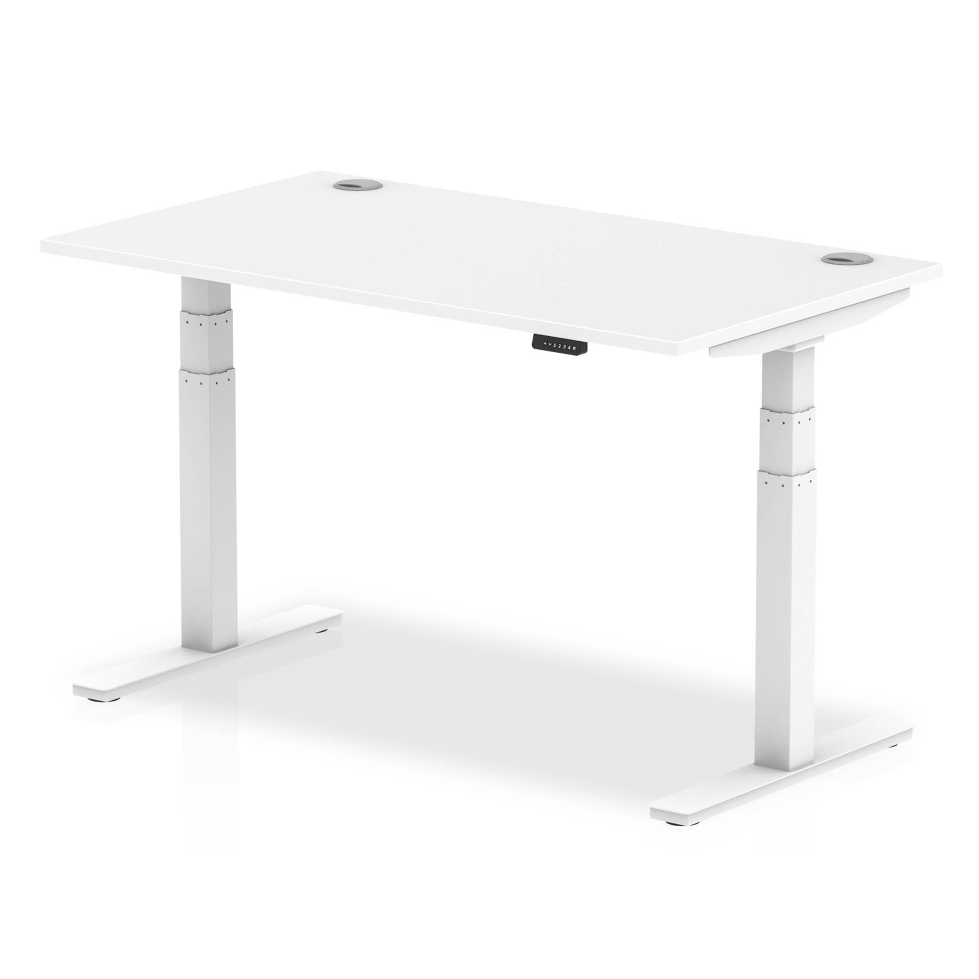 Trexus Sit Stand Desk With Cable Ports White Legs 1400x800mm White Ref HA01110