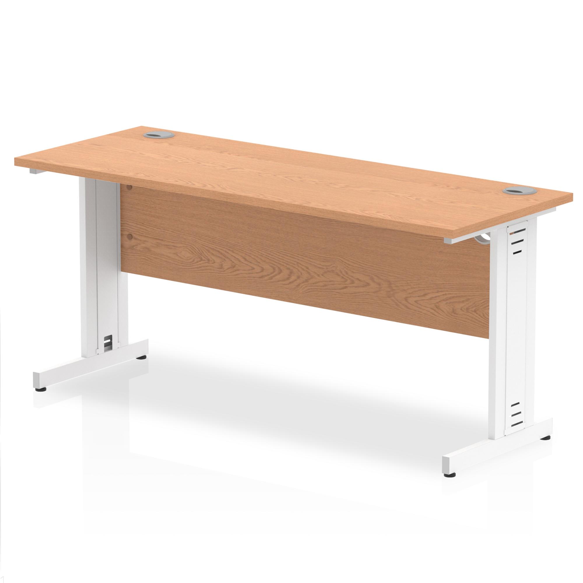 Trexus Desk Rectangle Cable Managed White Leg 1600x600mm Oak Ref MI002735