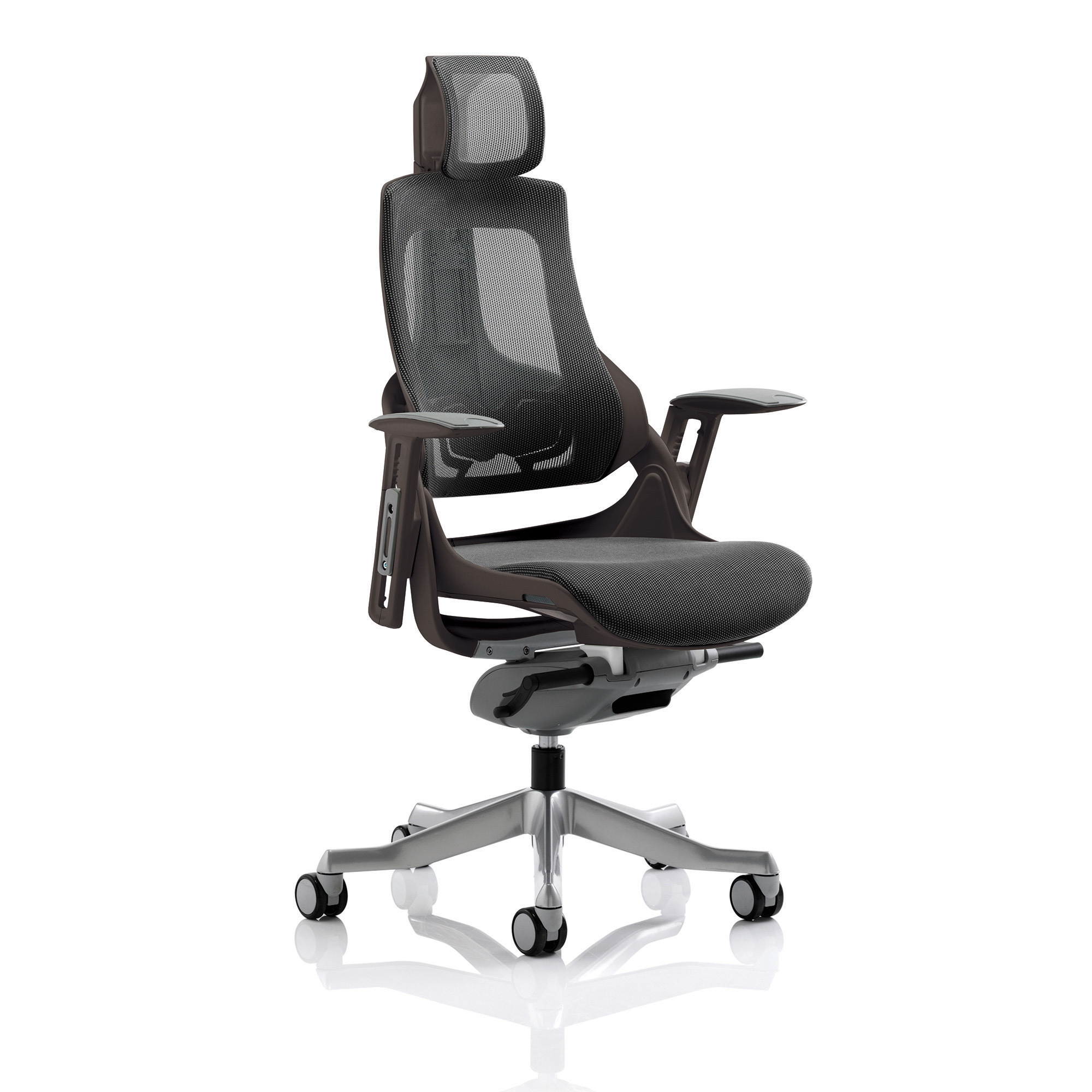Adroit Zure Executive Chair With Headrest Black Frame Mesh Charcoal Ref KCUP1281