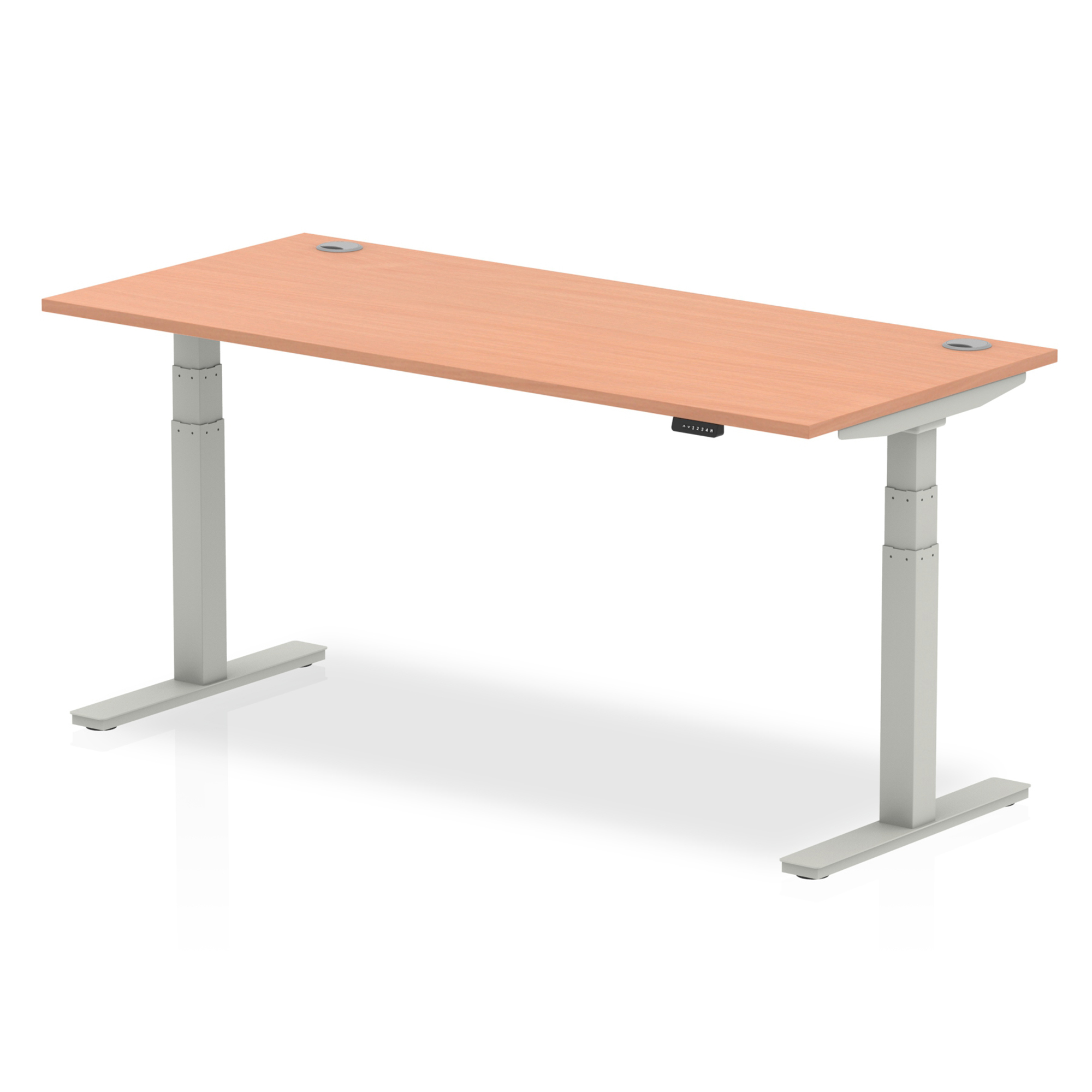 Trexus Sit Stand Desk With Cable Ports Silver Legs 1800x800mm Beech Ref HA01084