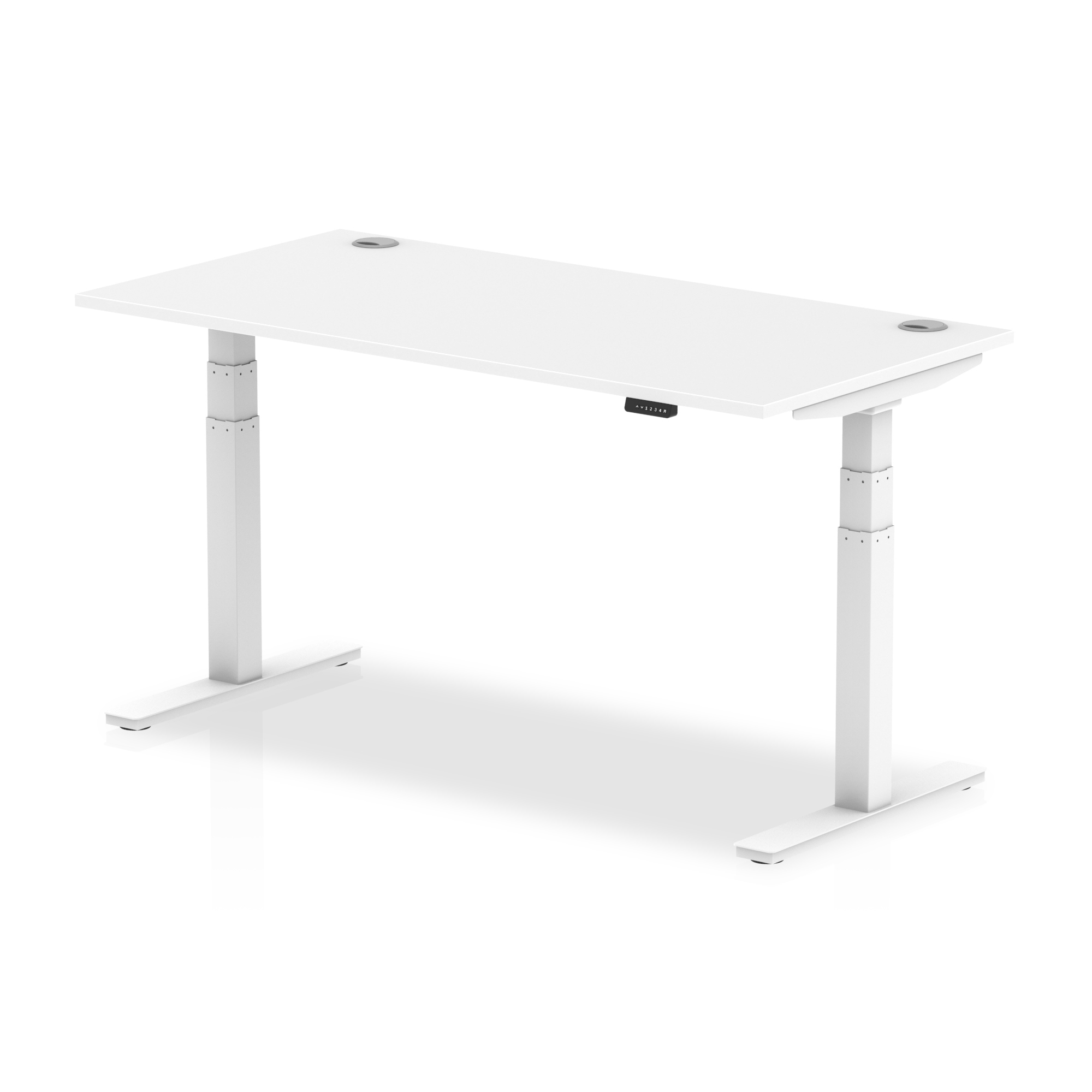 Trexus Sit Stand Desk With Cable Ports White Legs 1600x800mm White Ref HA01111