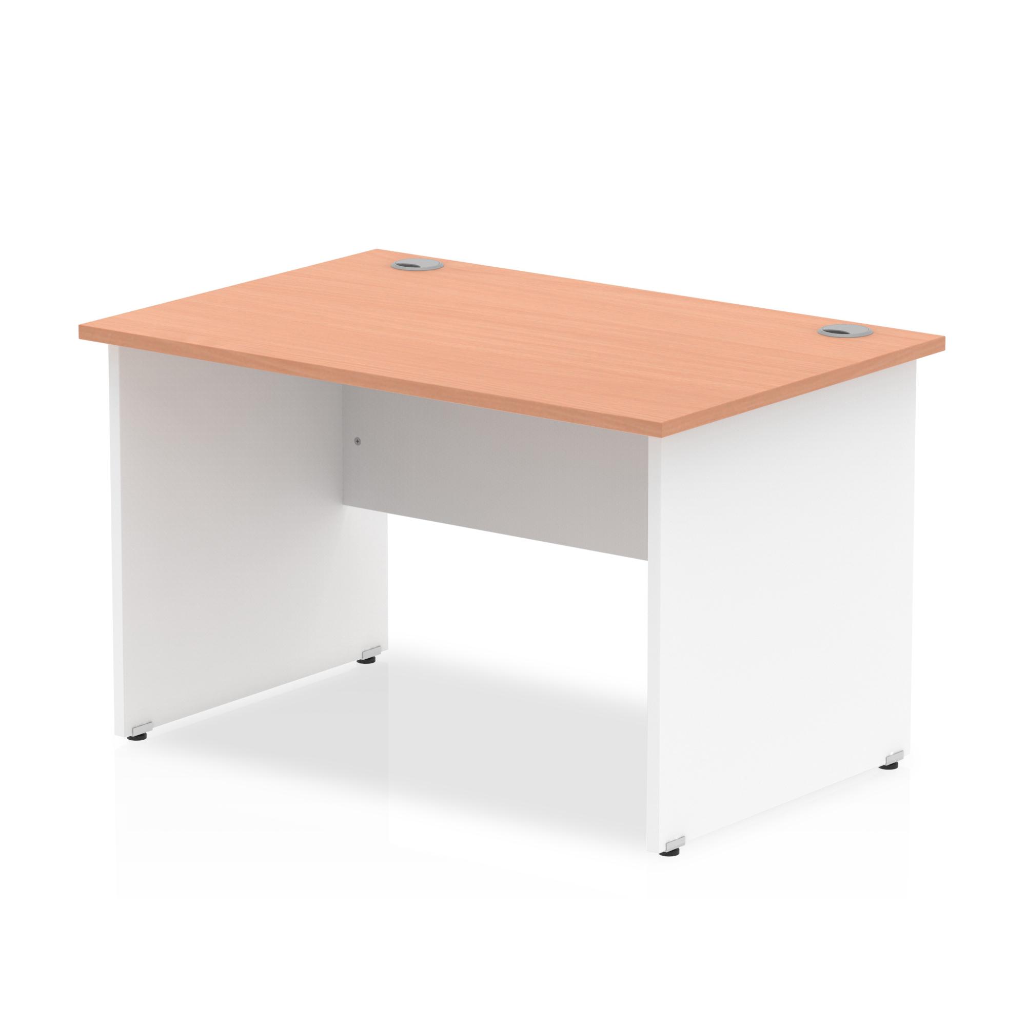 Trexus Desk Rectangle Panel End 1200x800mm Beech Top White Panels Ref TT000003