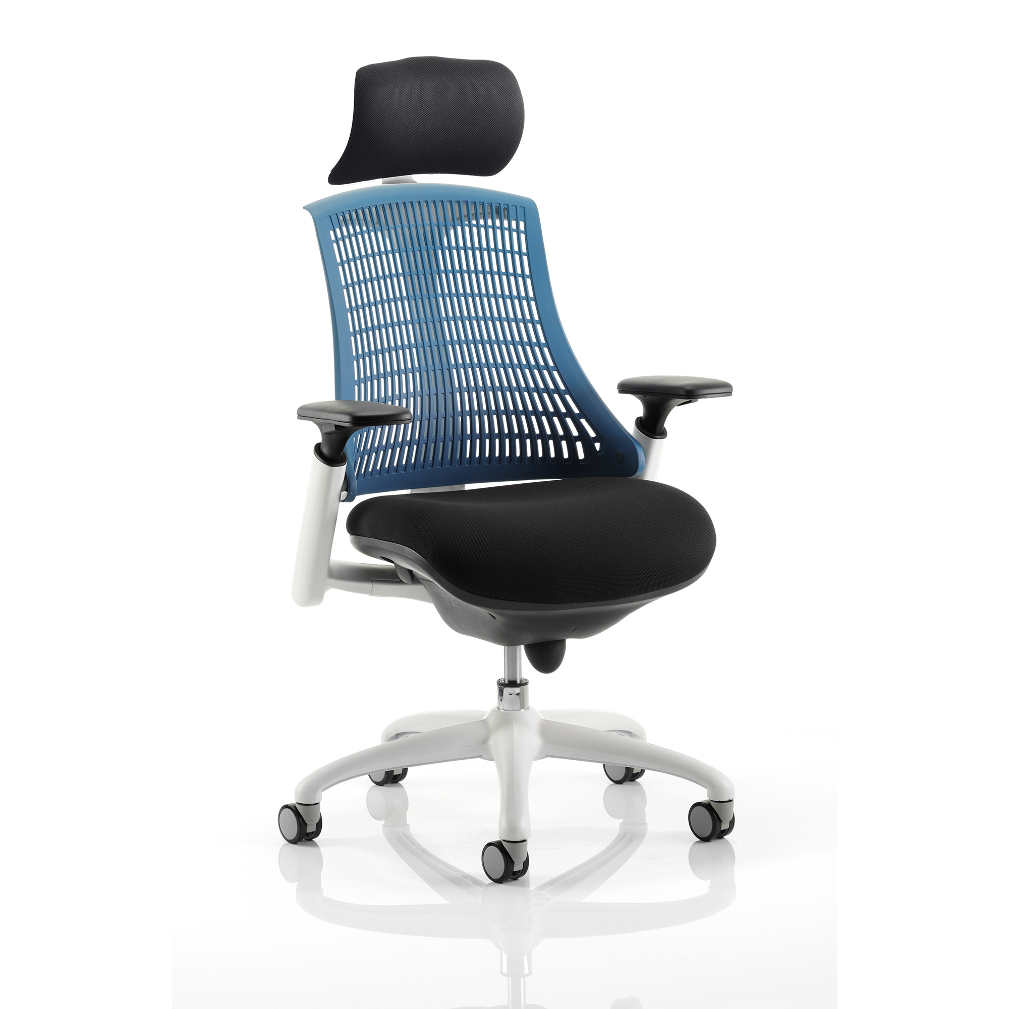Trexus Flex Task Operator Chair With Arms and Headrest Black Fabric Seat Blue Back Black Frame Ref KC0108