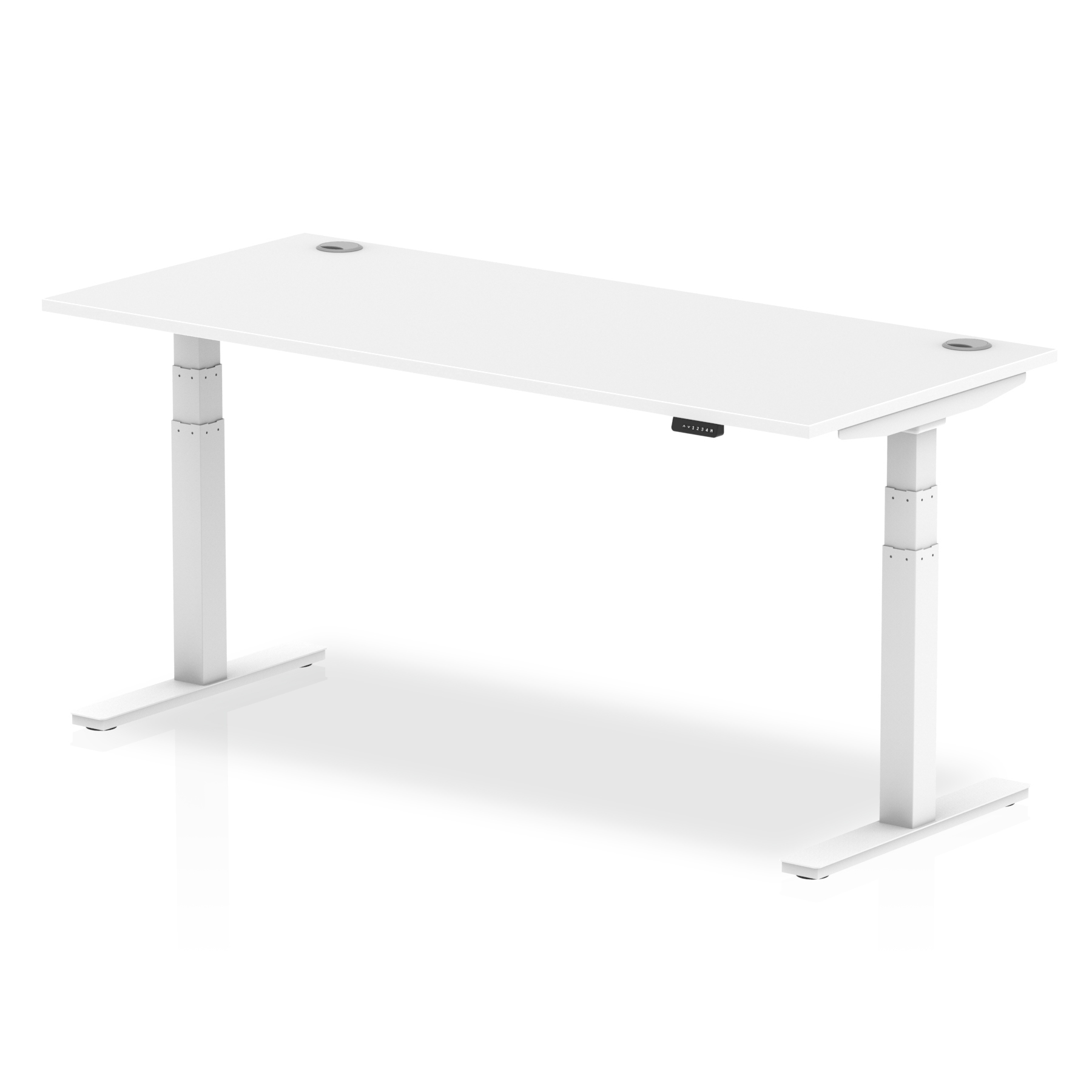Trexus Sit Stand Desk With Cable Ports White Legs 1800x800mm White Ref HA01112