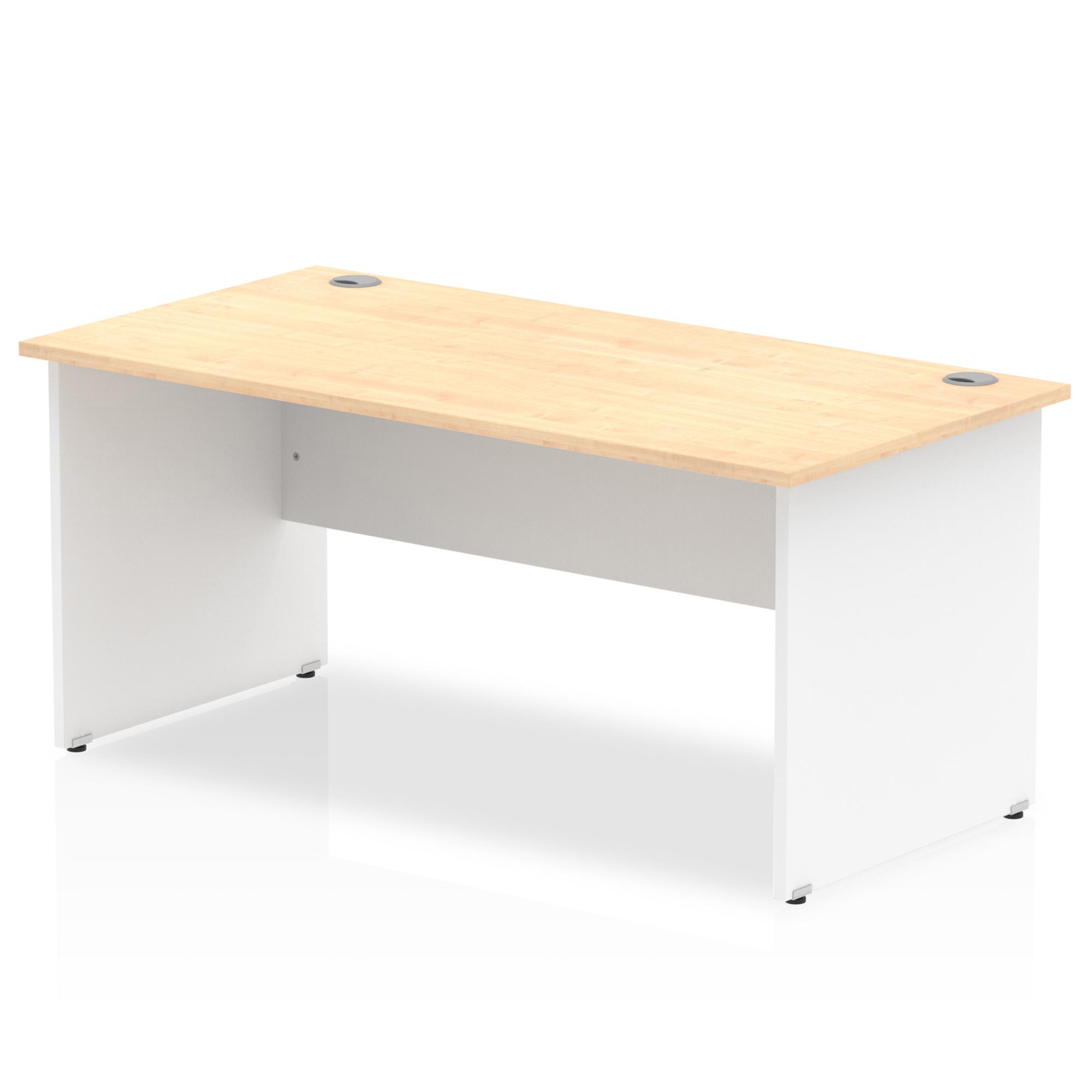 Trexus Desk Rectangle Panel End 1600x800mm Maple Top White Panels Ref TT000111