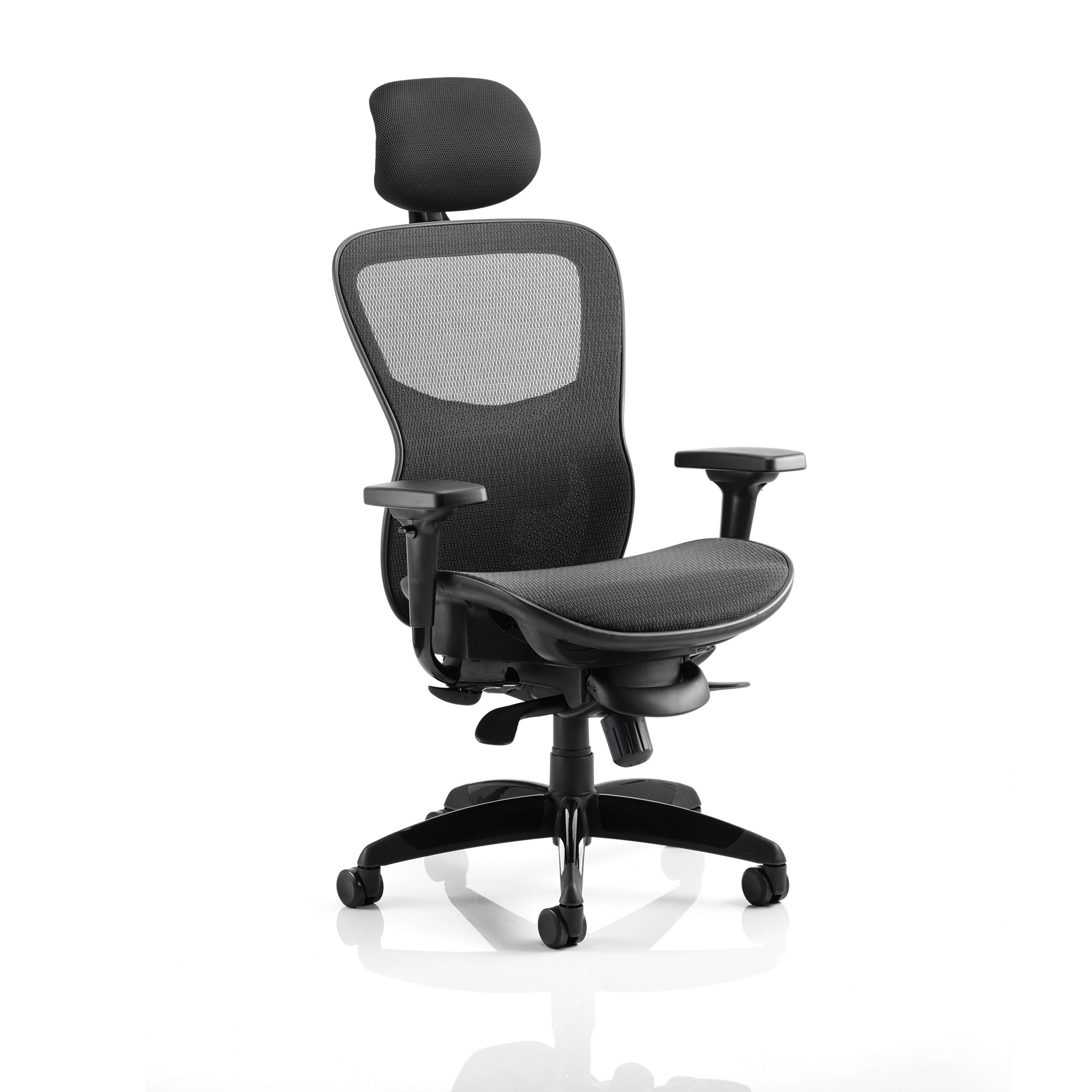 Task seating Adroit Stealth Shadow Ergo Posture Chair With Arms With Headrest Mesh Seat And Back Black Ref KC0159