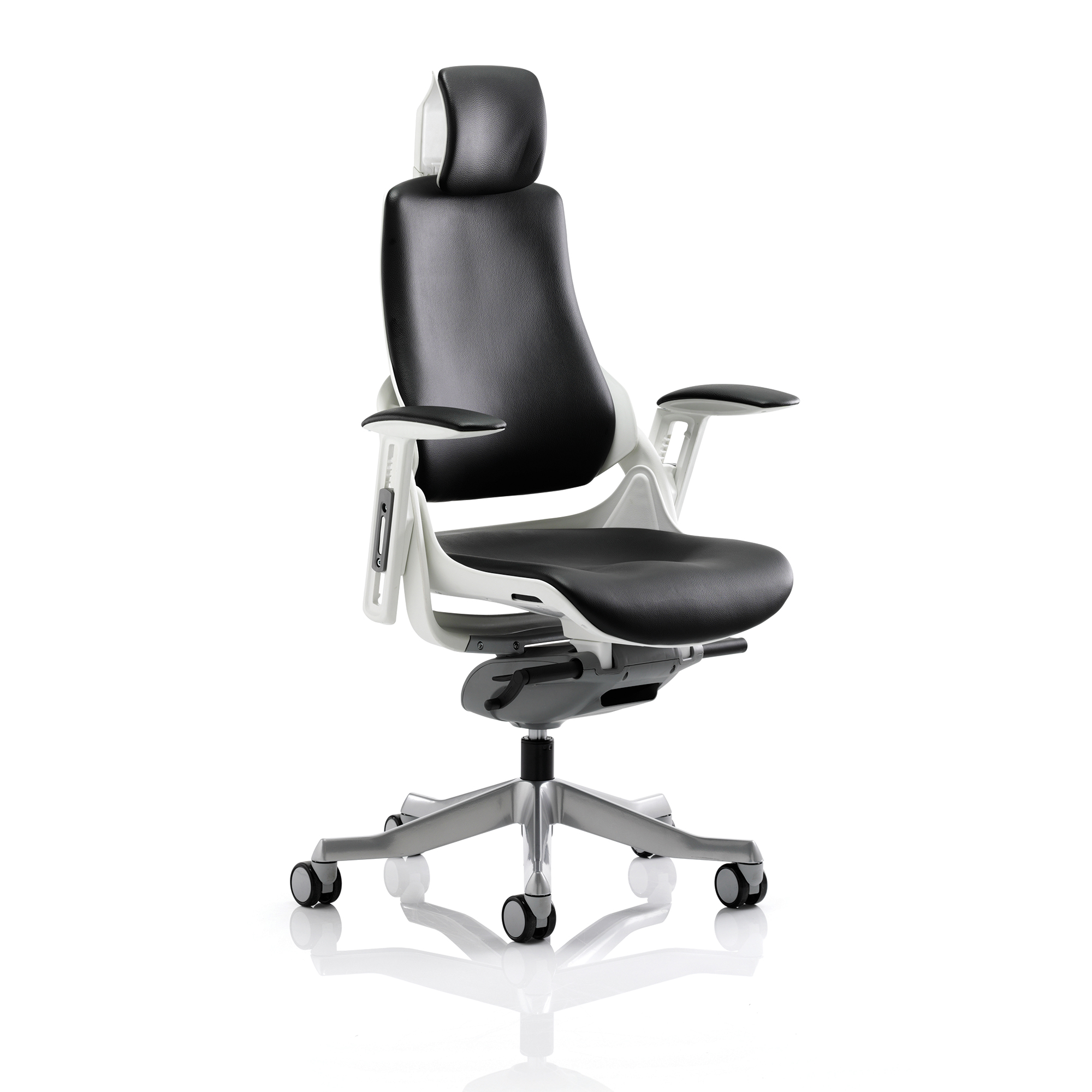 Adroit Zure Executive Chair With Arms With Headrest Leather Black Ref KC0166