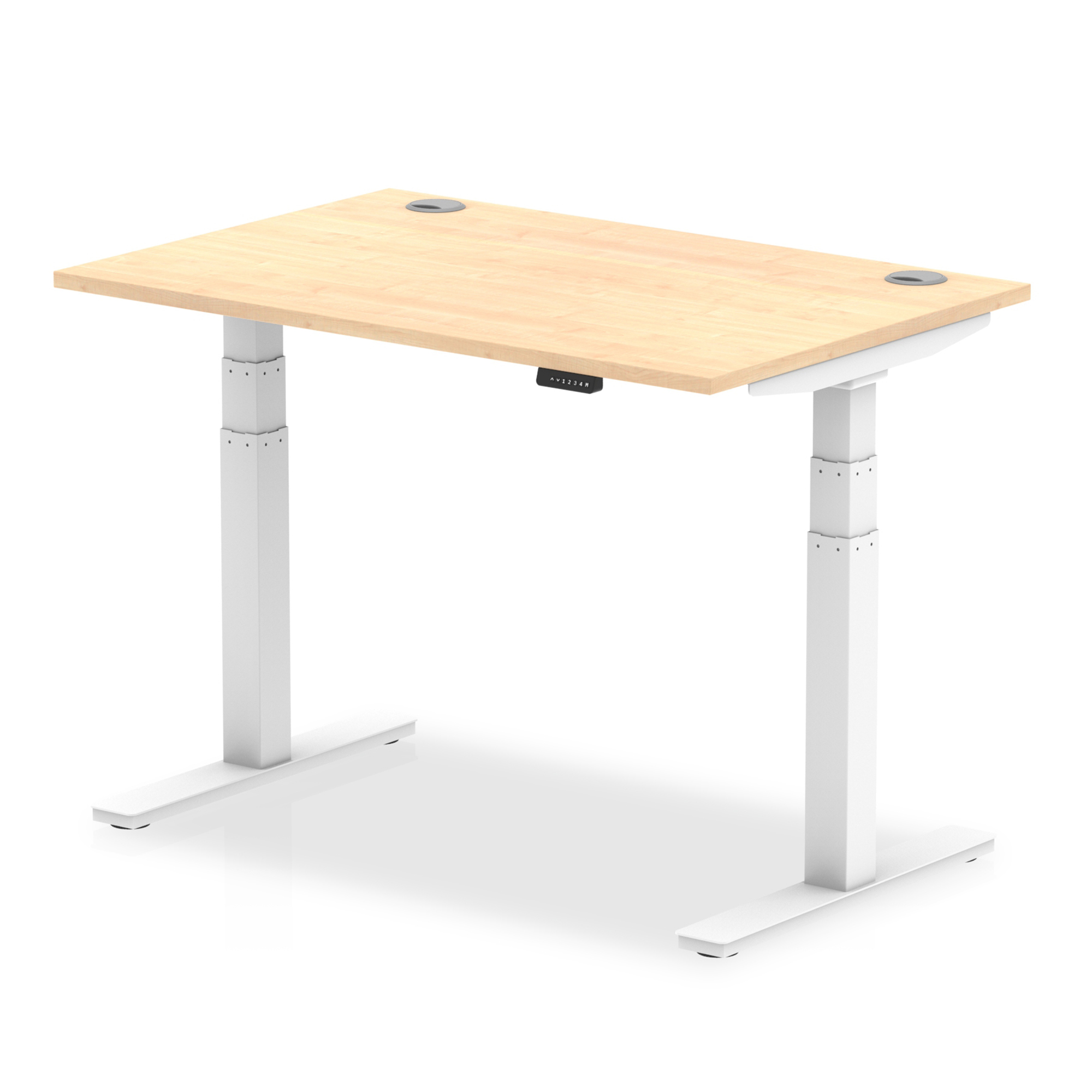 Trexus Sit Stand Desk With Cable Ports White Legs 1200x800mm Maple Ref HA01113