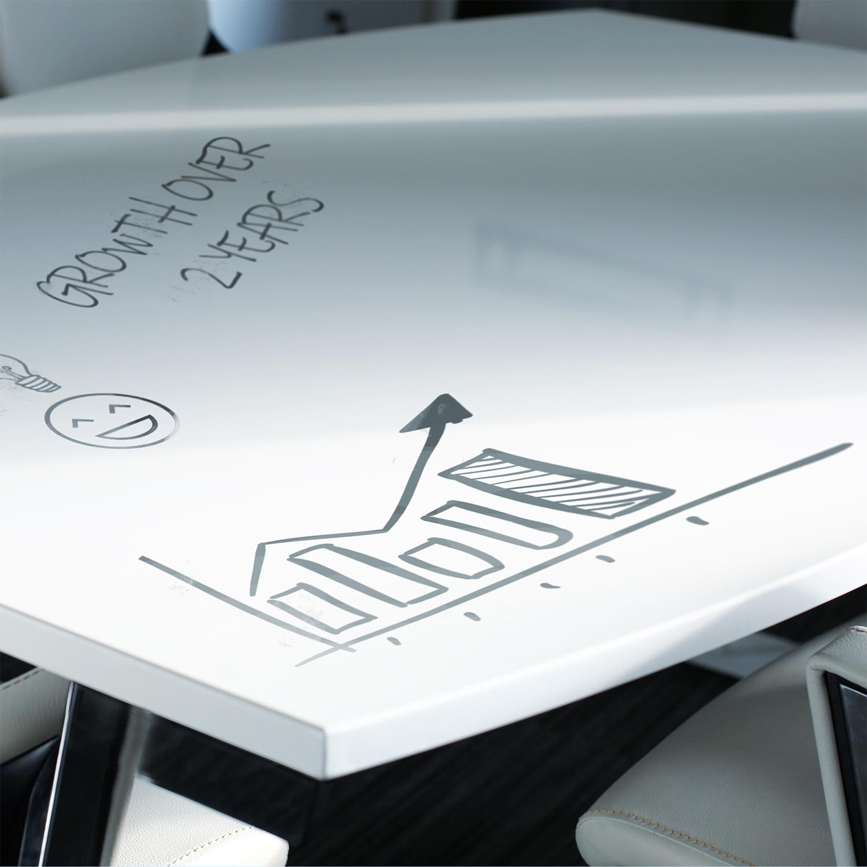 Trexus Boardroom Table Writable Gloss 1800x1200x800mm White Ref I003057
