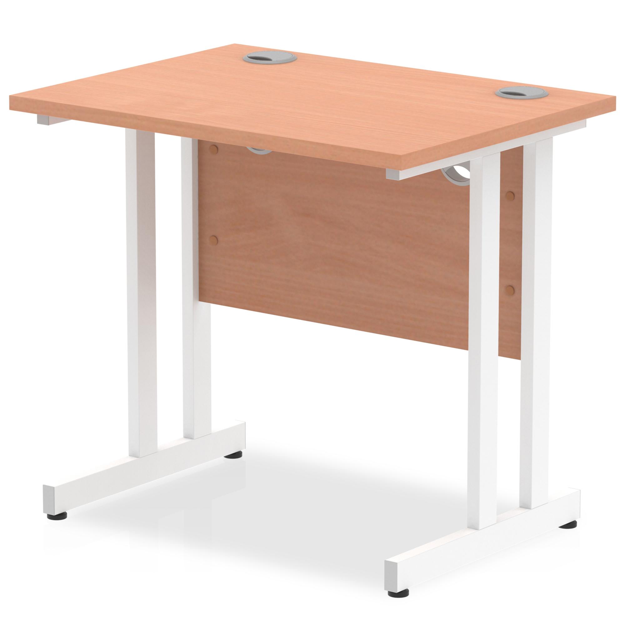 Trexus Desk Rectangle Cantilever White Leg 800x600mm Beech Ref MI002885