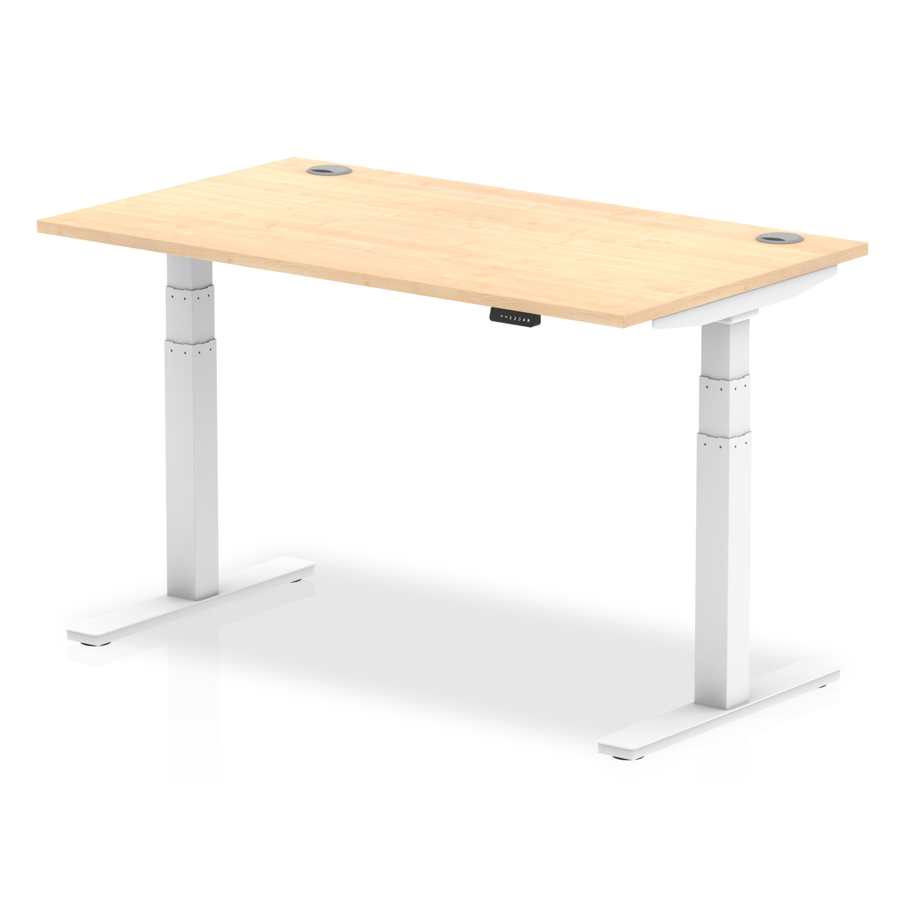 Trexus Sit Stand Desk With Cable Ports White Legs 1400x800mm Maple Ref HA01114