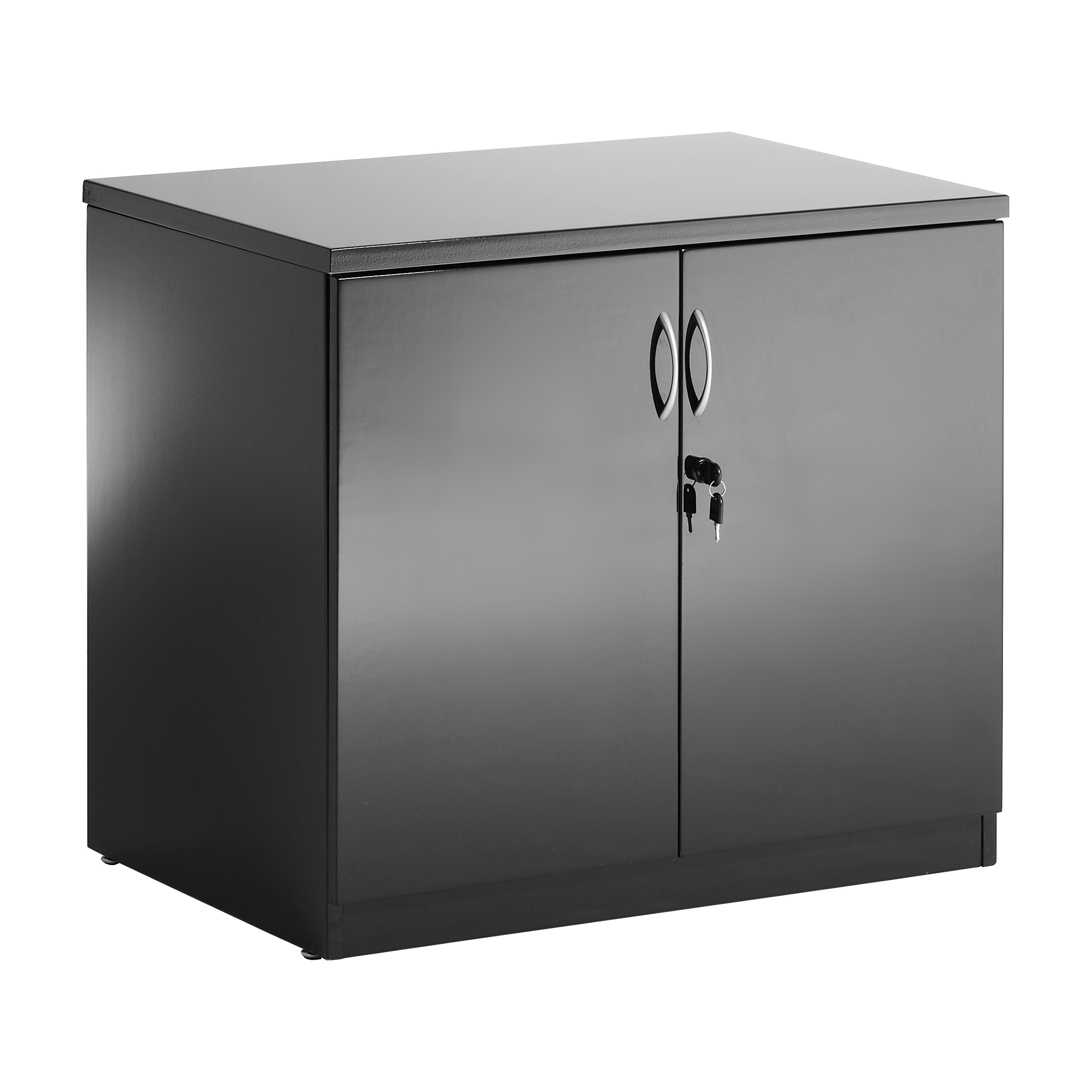 Sonix Desk High Cupboard 800x600x730mm High Gloss Black Ref I000733