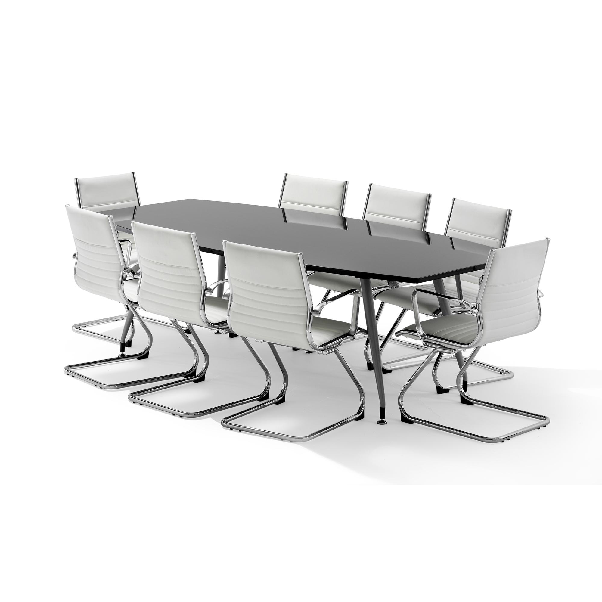 Sonix Boardroom Table Writable Gloss 2400x1200x800mm Black Ref I003058