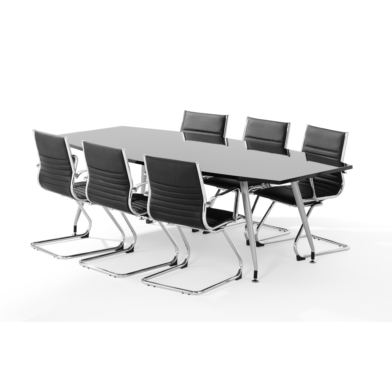 Trexus Boardroom Table Writable Gloss 2400x1200x800mm Black Ref I003058