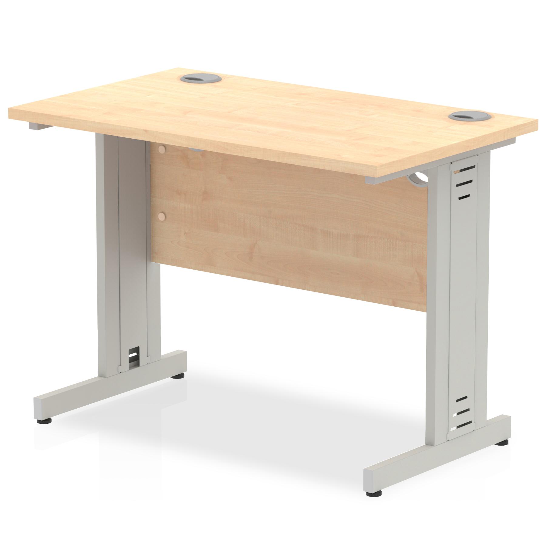 Trexus Desk Rectangle Cable Managed Silver Leg 1000x600mm Maple Ref MI002501