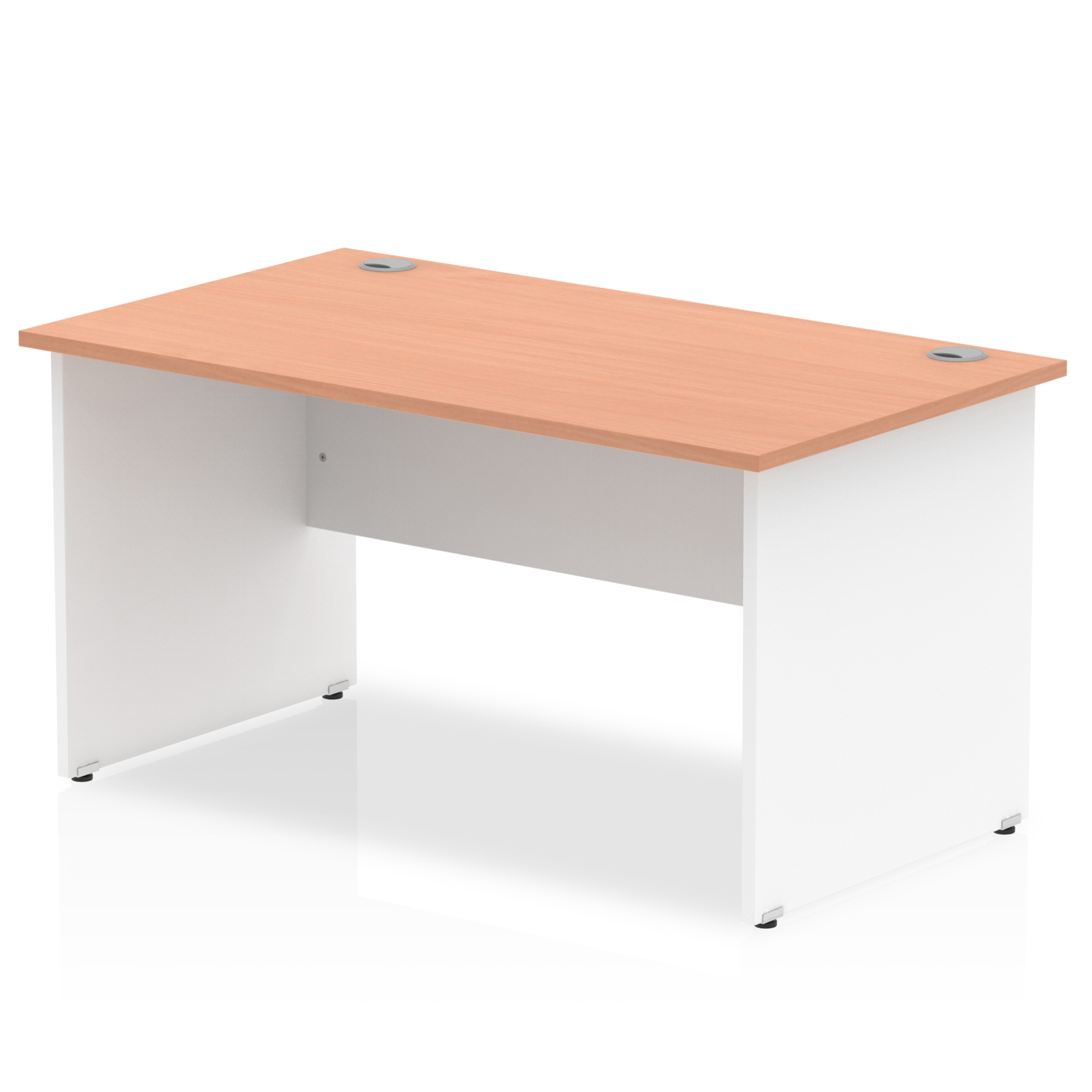 Trexus Desk Rectangle Panel End 1400x800mm Beech Top White Panels Ref TT000009