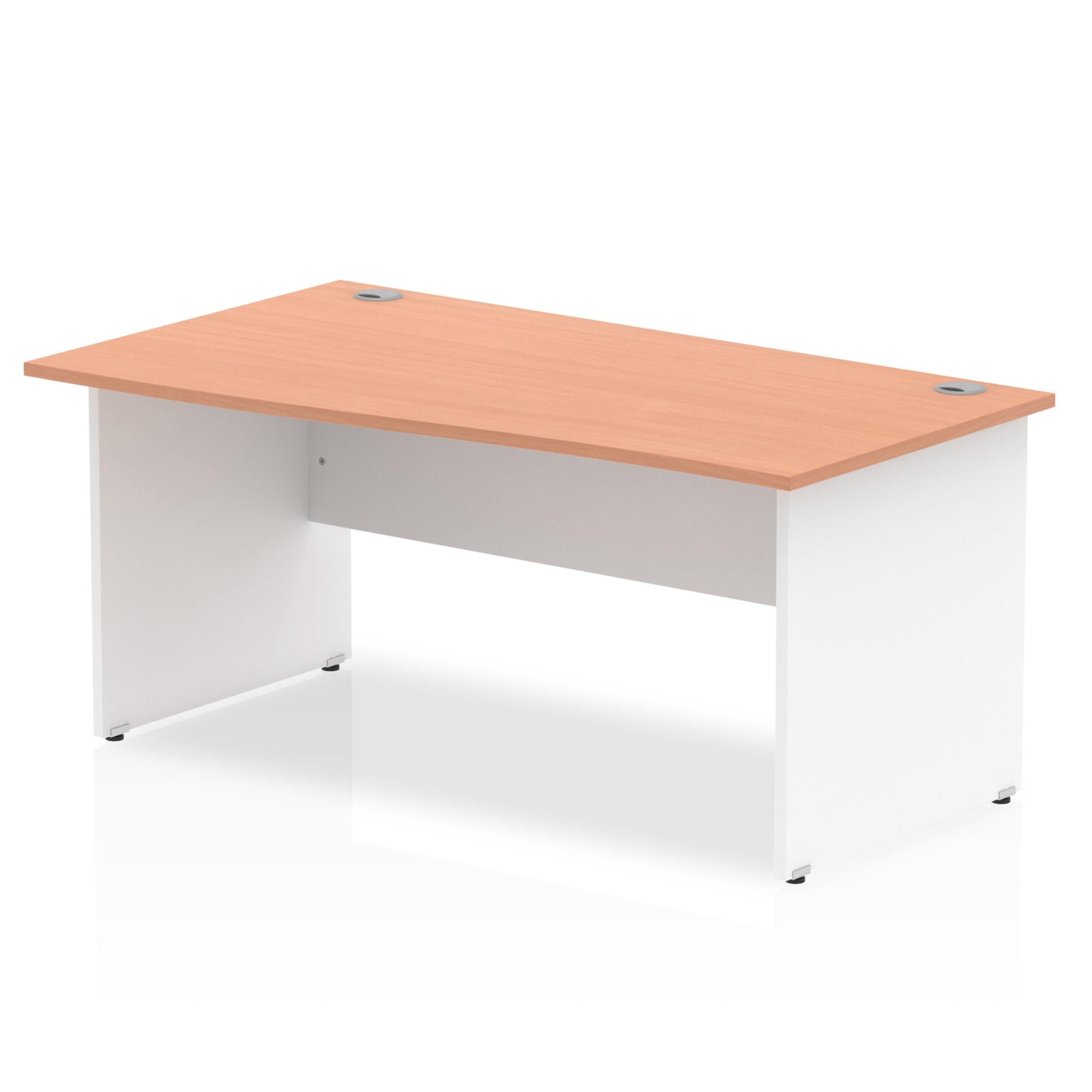 Trexus Desk Wave Left Hand Panel End 1600x800mm Beech Top White Panels Ref TT000063